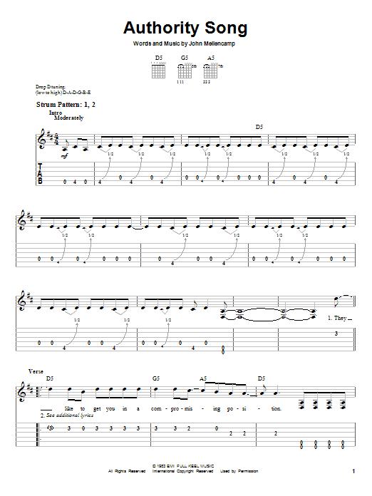 John Mellencamp 'Authority Song' Sheet Music Notes, Chords | Download  Printable Easy Guitar Tab - SKU: 29459