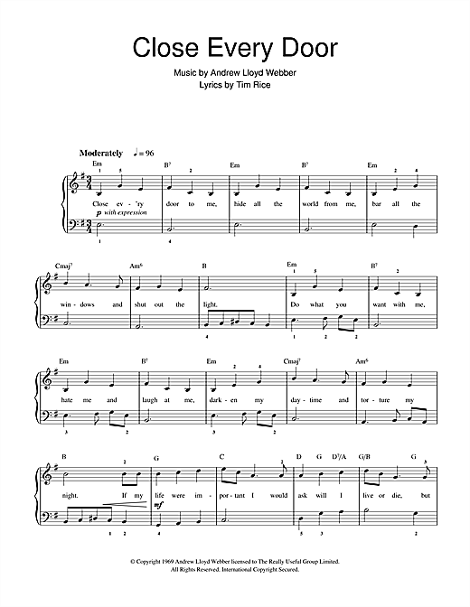 Andrew Lloyd Webber, Close Every Door (from Joseph And The Amazing Technicolor Dreamcoat), Beginner Piano, sheet music, piano notes, chords, song, artist, awards, billboard, mtv, vh1, tour, single, album, release