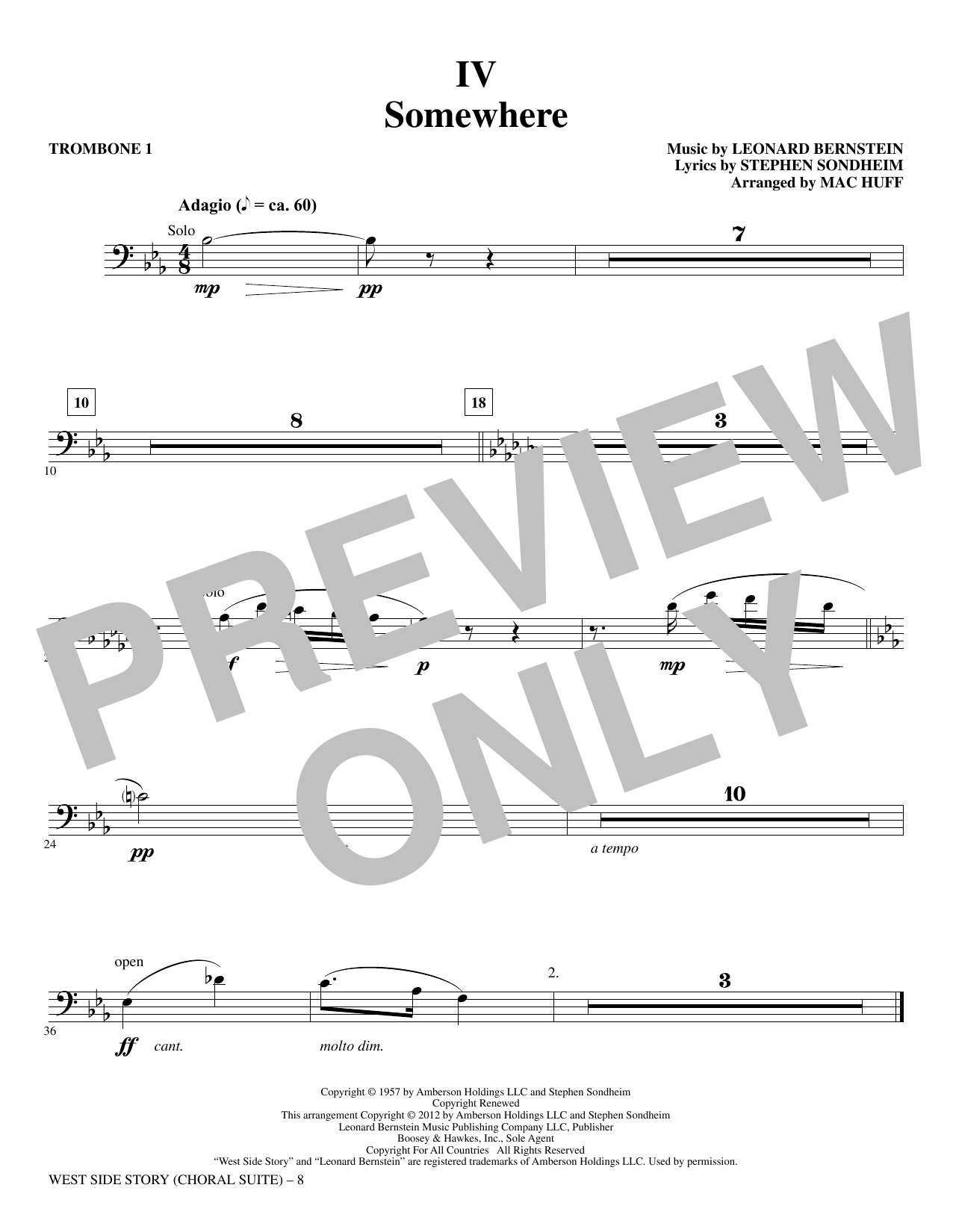 Mac Huff 'West Side Story - Trombone 1' Sheet Music Notes, Chords |  Download Printable Choral Instrumental Pak - SKU: 328183