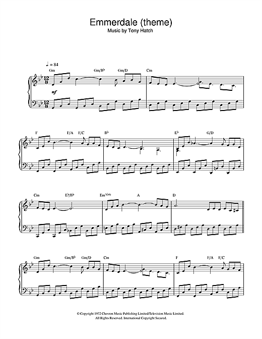 Tony Hatch 'Emmerdale (theme)' Sheet Music Notes, Chords   Download  Printable Piano - SKU: 33017