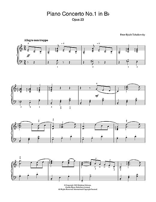 Piano Concerto No.1 in B Flat Minor, Op.23 sheet music