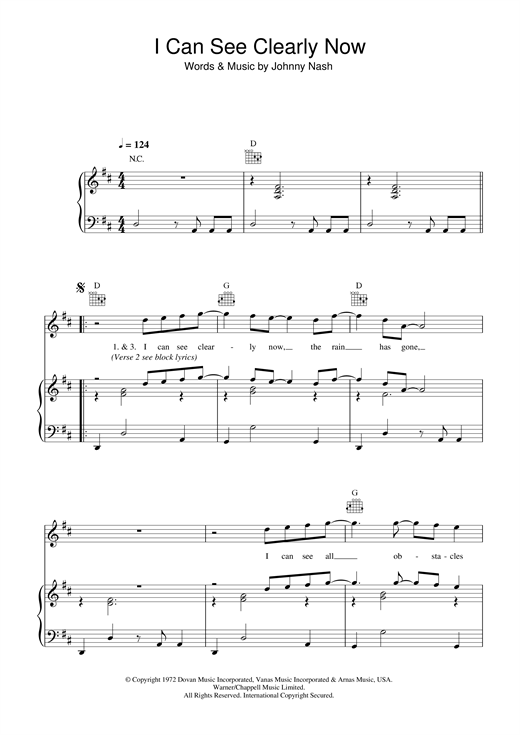Johnny Nash I Can See Clearly Now Sheet Music Download Pdf Score 33754