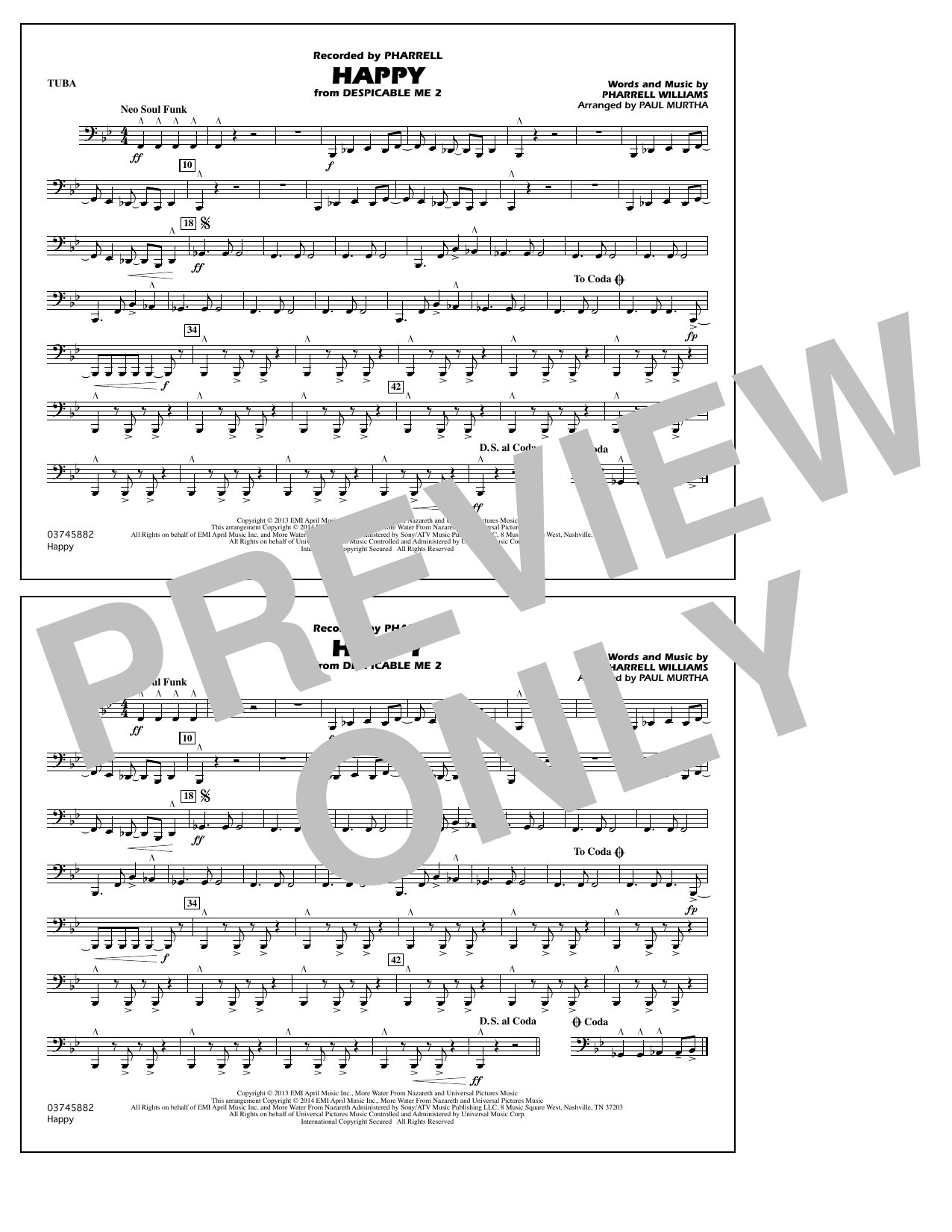 Paul Murtha 'Happy (from Despicable Me 2) - Tuba' Sheet Music Notes, Chords  | Download Printable Marching Band - SKU: 338768