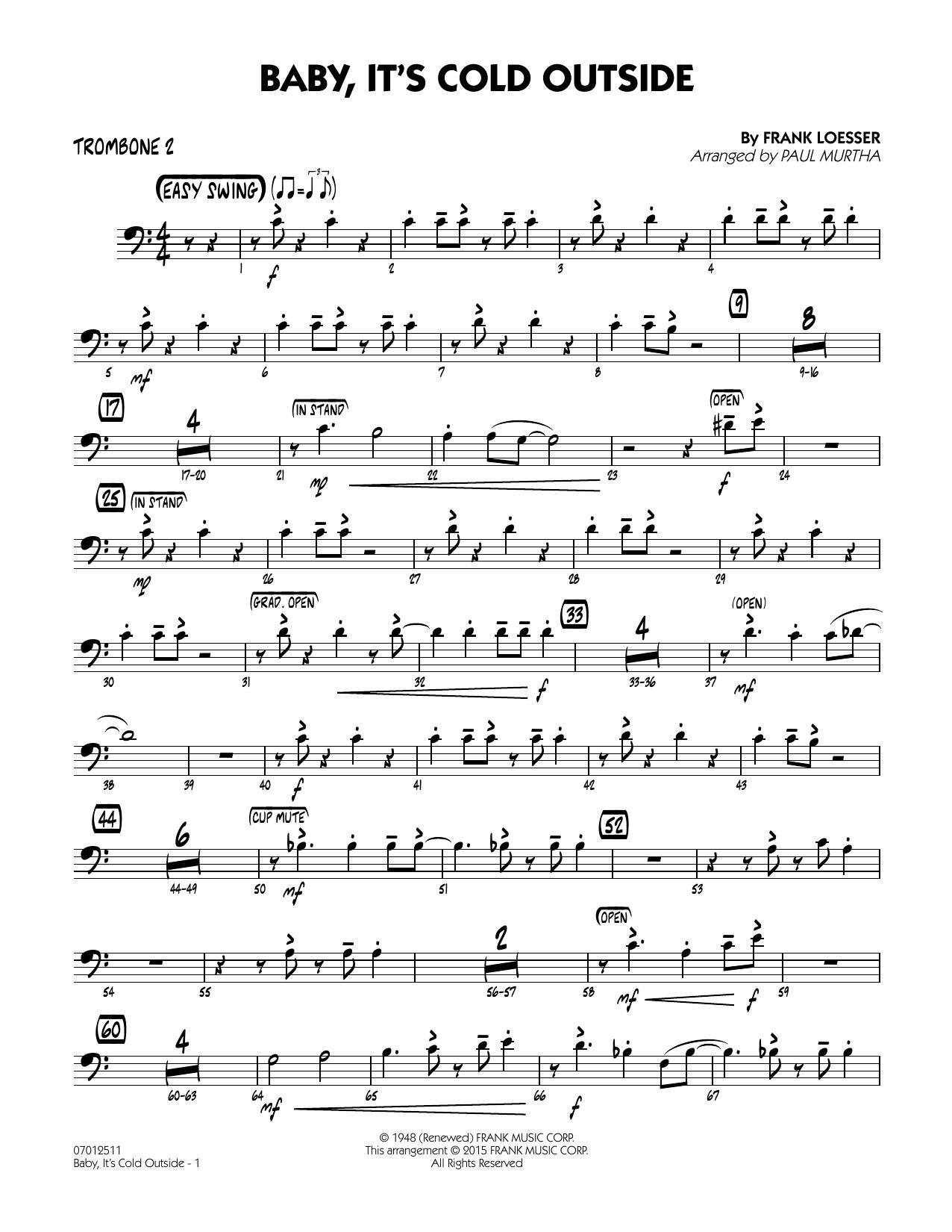 Paul Murtha Baby It S Cold Outside Key C Trombone 2 Chords