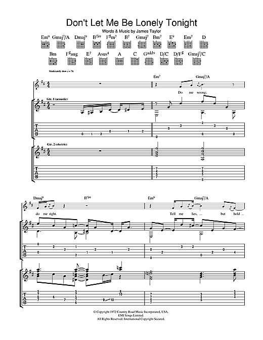 James Taylor Don T Let Me Be Lonely Tonight Sheet Music Download Pdf Score 36690