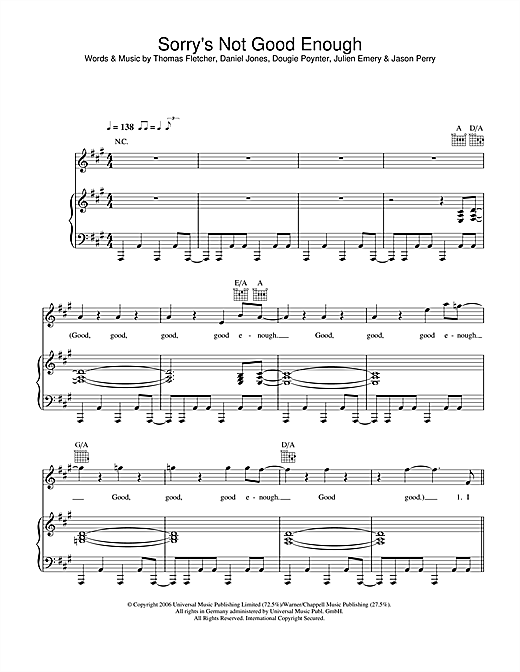 Sorry's Not Good Enough sheet music