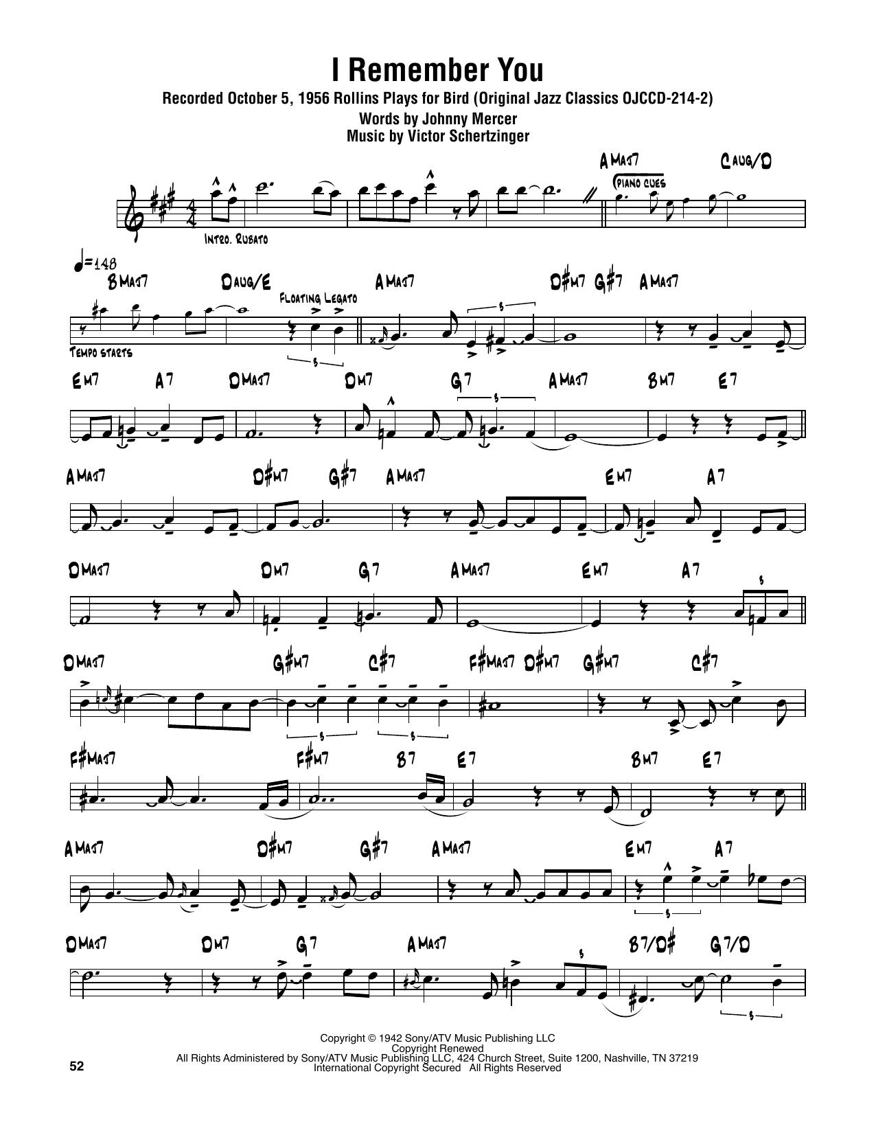 Sonny Rollins 'I Remember You' Sheet Music Notes, Chords   Download  Printable Tenor Sax Transcription - SKU: 374348