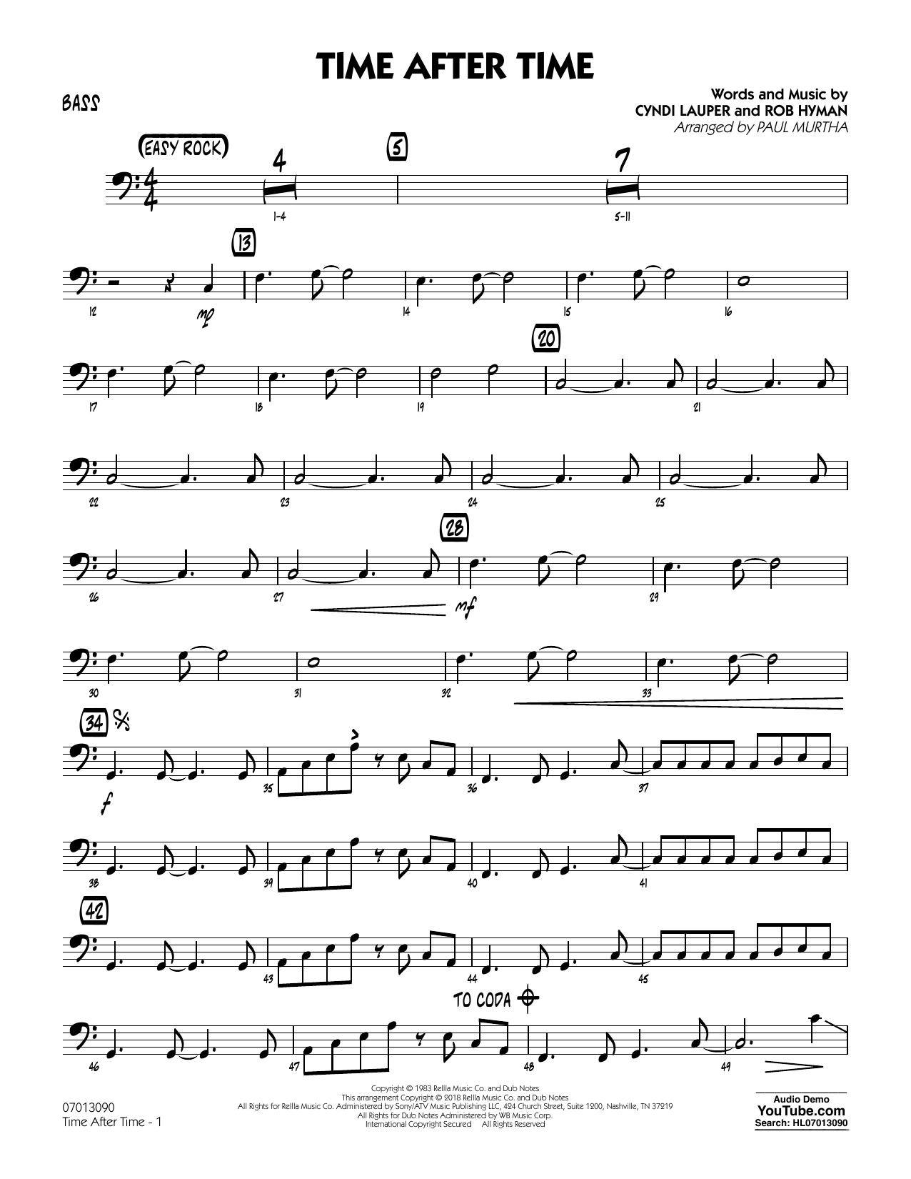 Paul Murtha Time After Time Bass Sheet Music Notes Chords Download Printable Jazz Ensemble Sku 376117