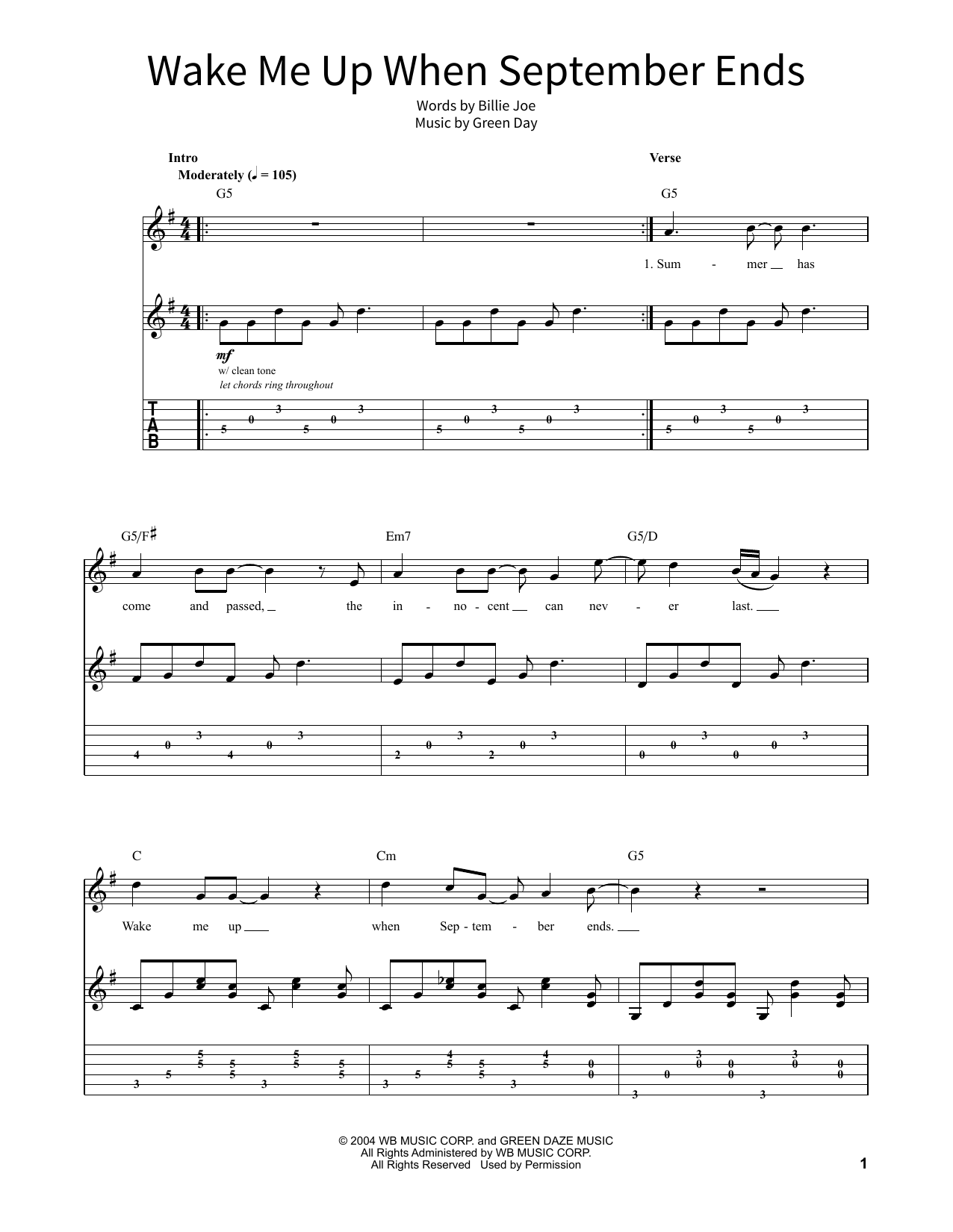 Green Day 'Wake Me Up When September Ends' Sheet Music Notes, Chords    Download Printable School of Rock – Guitar Tab - SKU: 379384