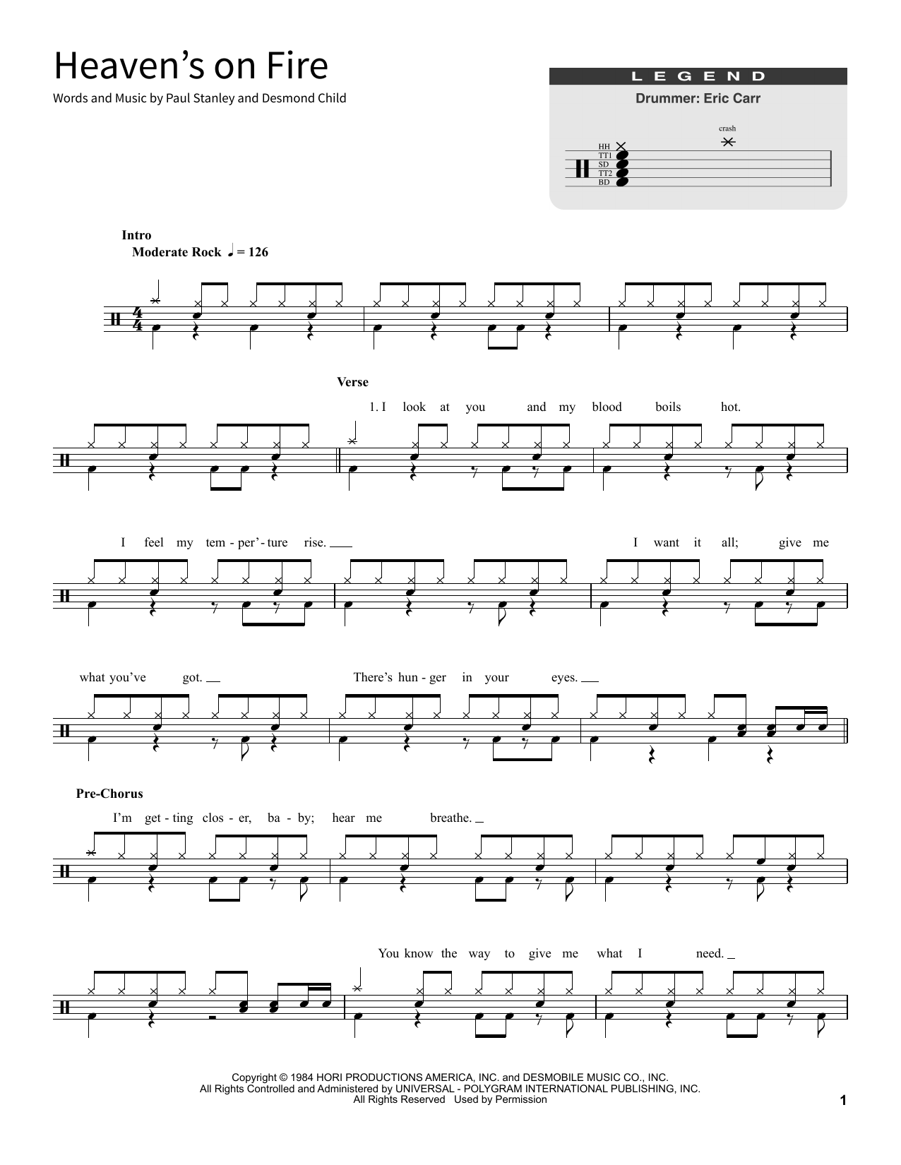Kiss Heaven S On Fire Chords Sheet Music Notes Download Pop