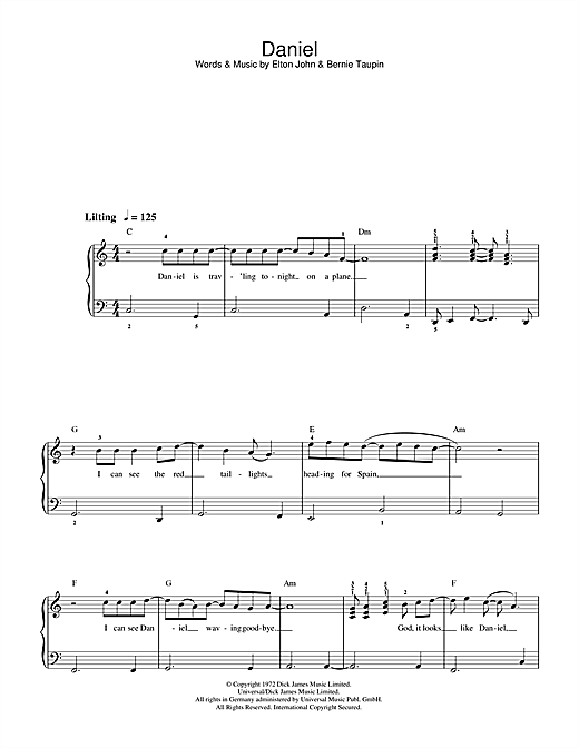 This is an image of Piano Sheet Music for Beginners Popular Songs Free Printable for right hand