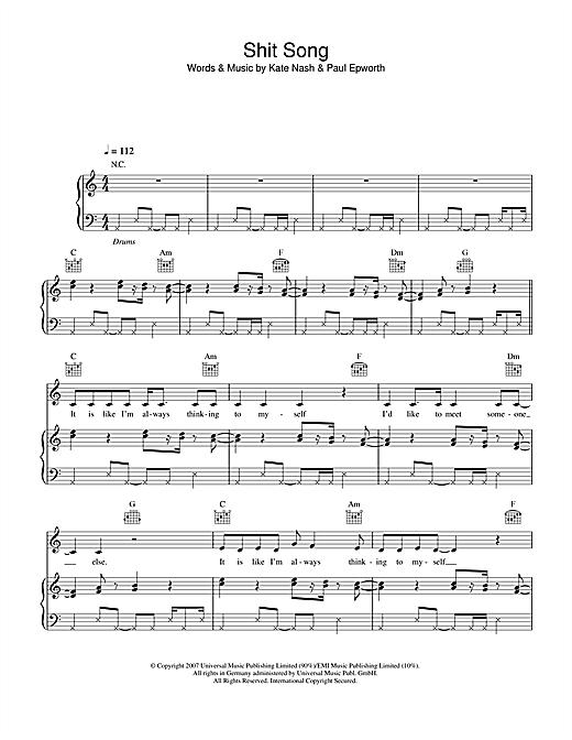 Kate Nash Shit Song Sheet Music Notes Chords Download Printable Piano Vocal Guitar Sku 39068
