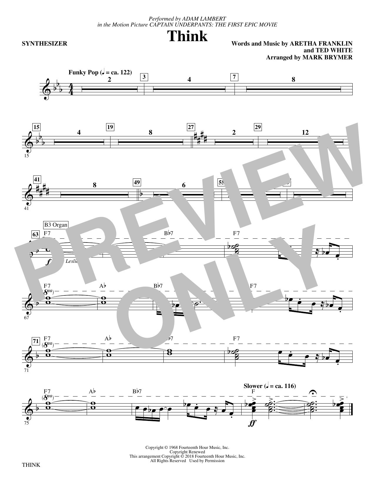 Adam Lambert 'Think (from Captain Underpants: The First Epic Movie) (Arr   Mark Brymer) - Synthesizer' Sheet Music Notes, Chords | Download Printable