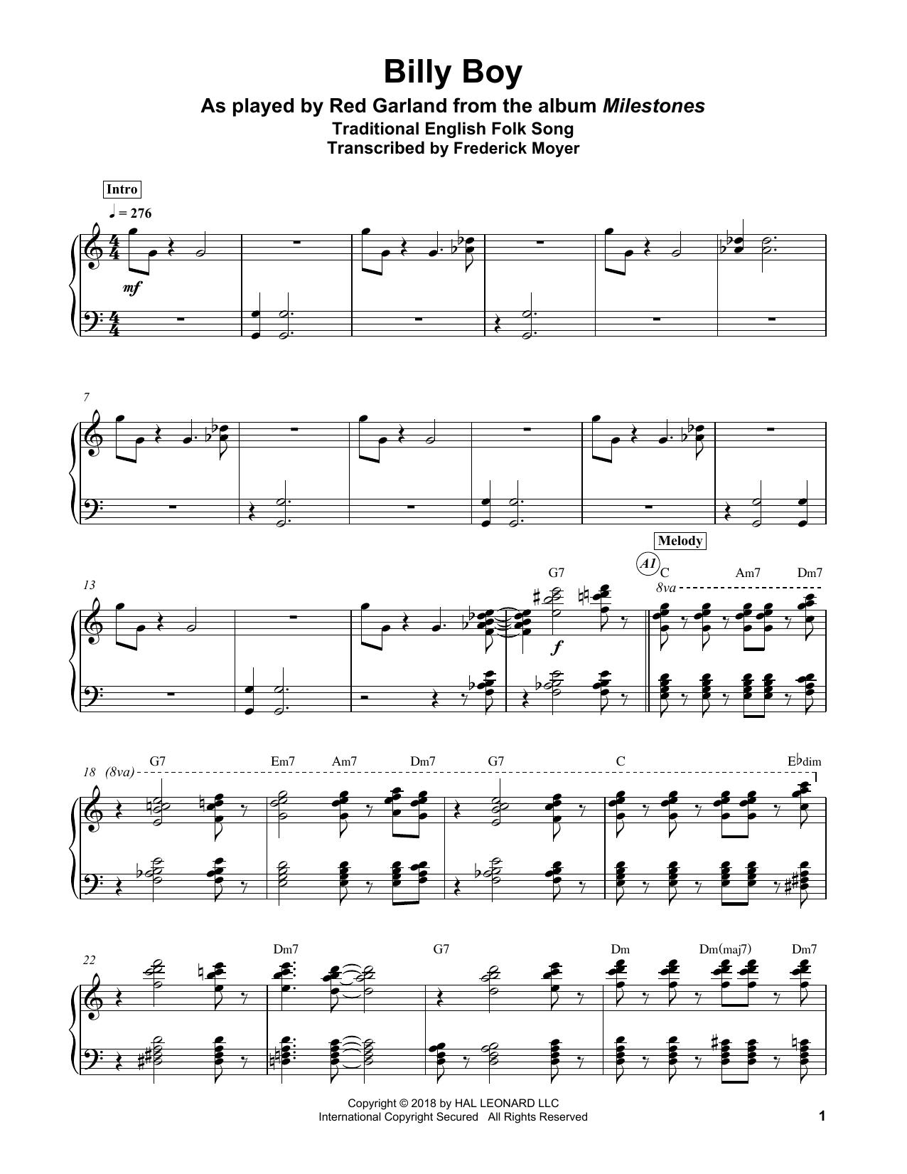 Traditional 'Billy Boy' Sheet Music Notes, Chords | Download Printable  Piano Transcription - SKU: 404170