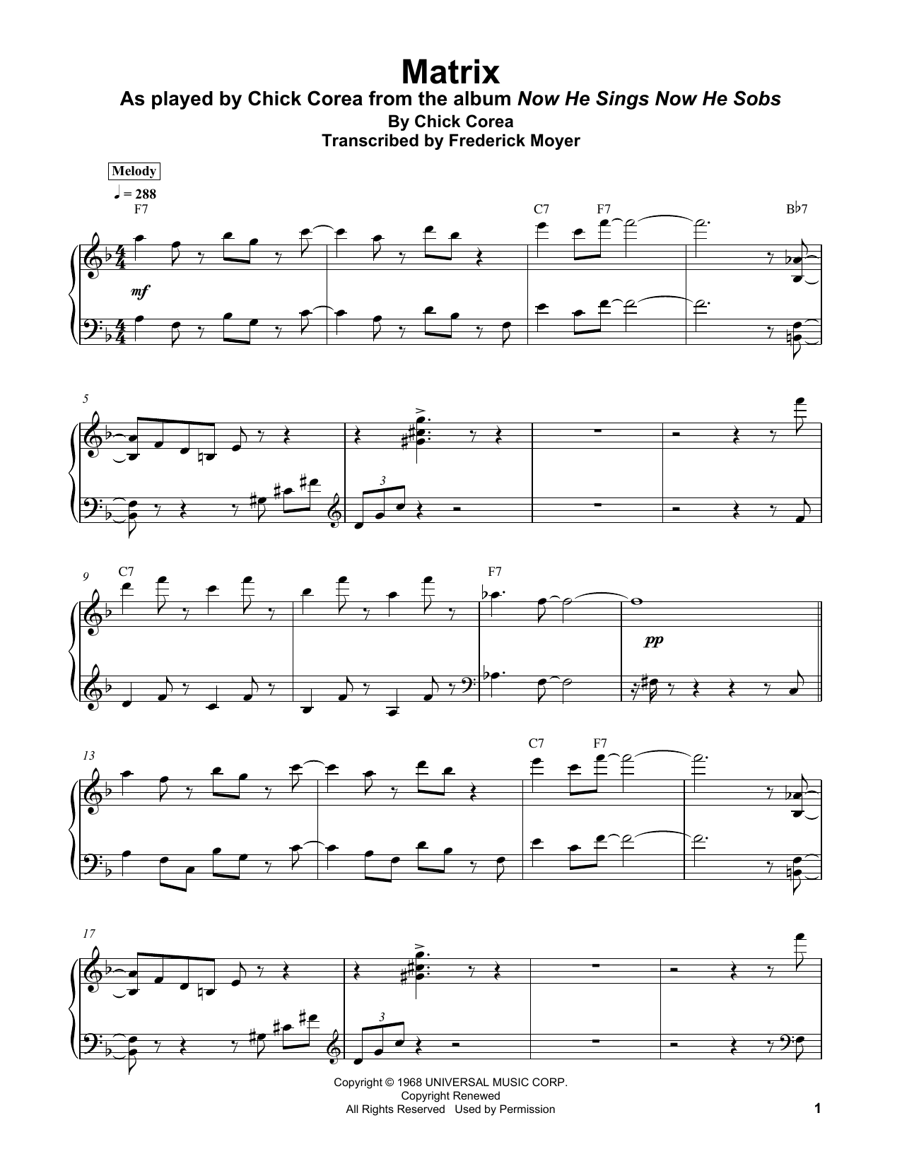 Chick Corea 'Matrix' Sheet Music Notes, Chords | Download Printable Piano  Transcription - SKU: 404179