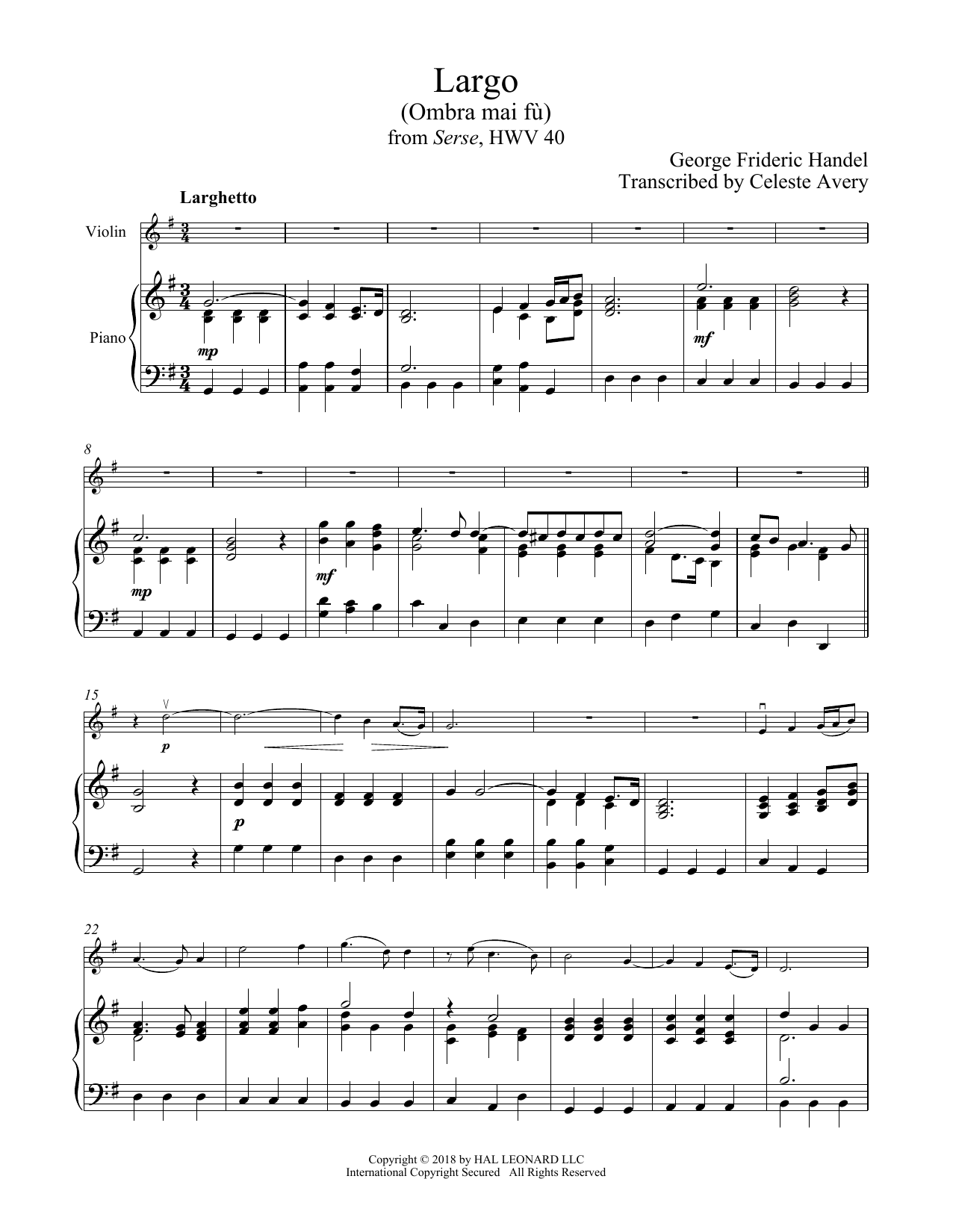 George Frideric Handel 'Ombra Mai Fu' Sheet Music Notes, Chords | Download  Printable Violin and Piano - SKU: 407674