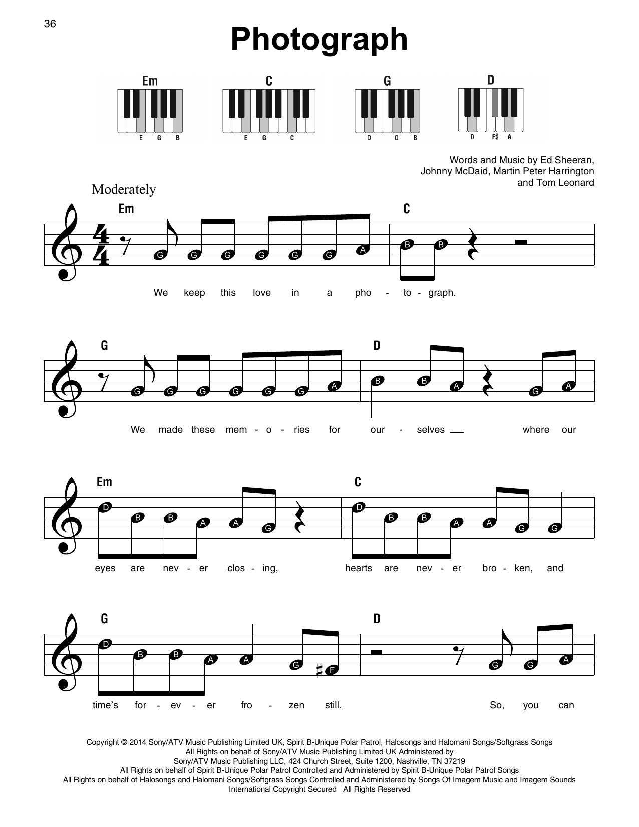 Ed Sheeran Photograph Sheet Music Notes Chords Download Printable Super Easy Piano Sku 410117