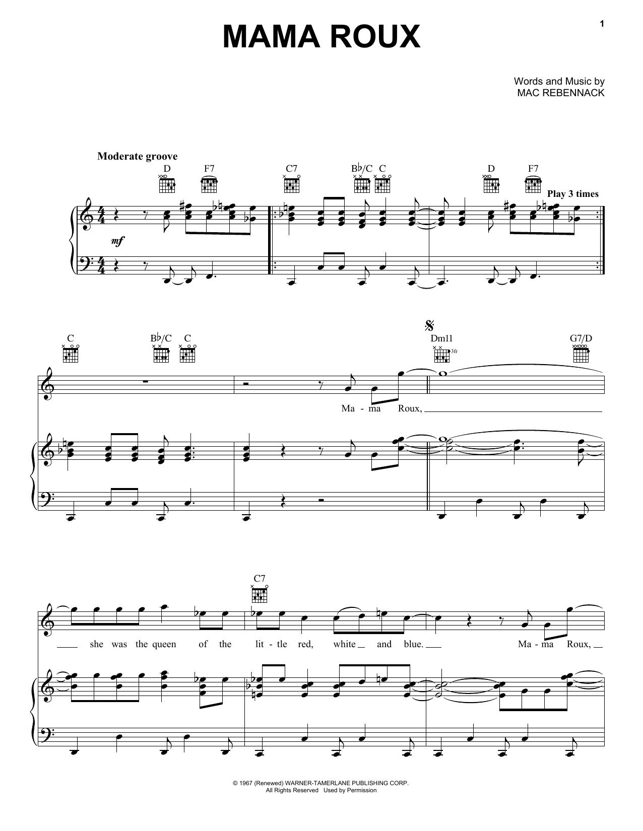 Dr  John 'Mama Roux' Sheet Music Notes, Chords | Download Printable Piano,  Vocal & Guitar (Right-Hand Melody) - SKU: 410180
