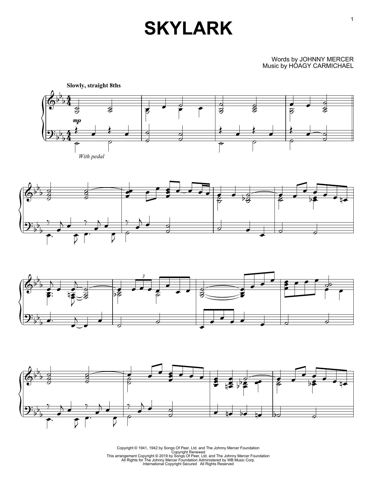 Hoagy Carmichael 'Skylark' Sheet Music Notes, Chords | Download Printable  Piano Solo - SKU: 411075