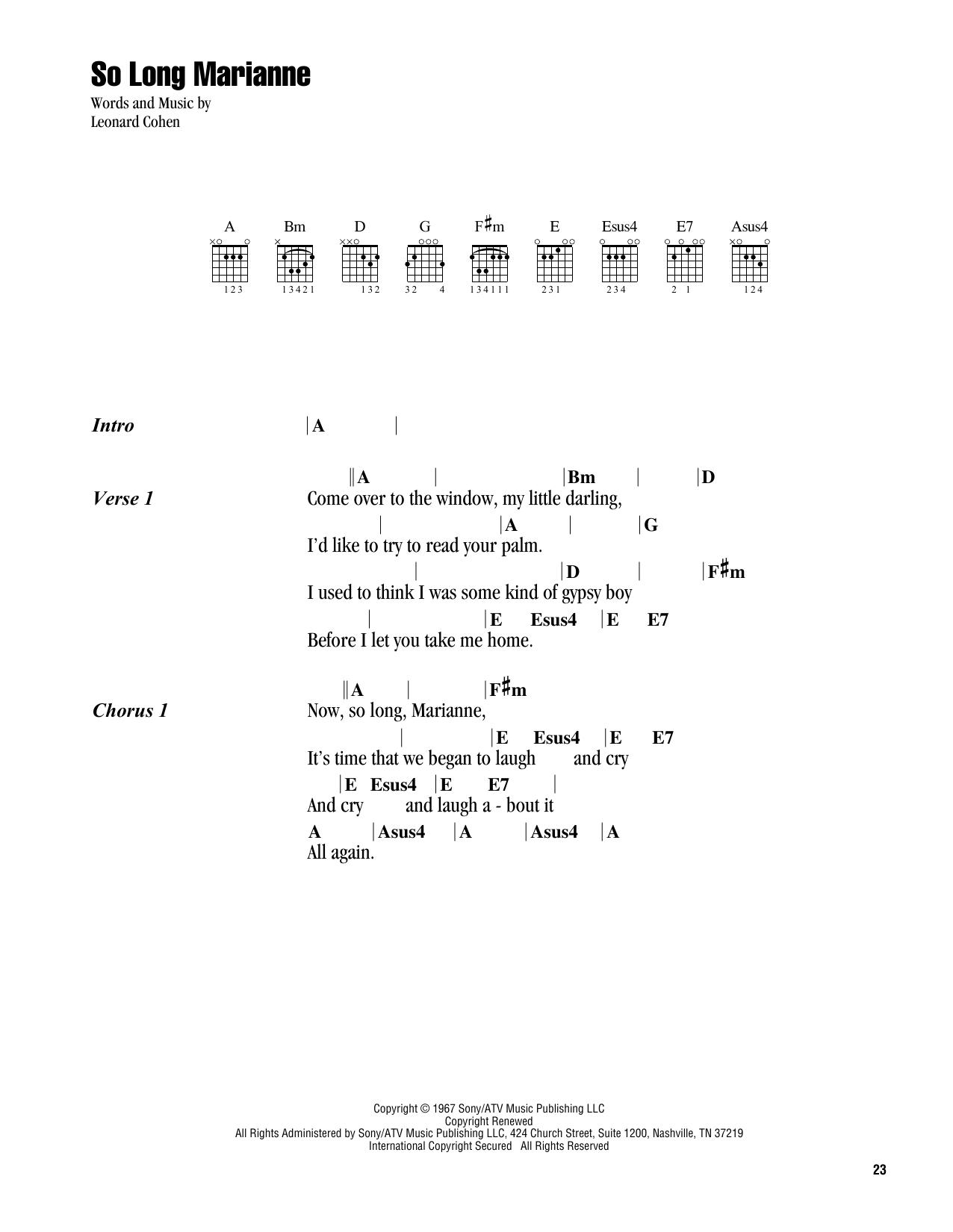 Leonard Cohen 'So Long Marianne' Sheet Music Notes, Chords | Download  Printable Guitar Chords/Lyrics - SKU: 411582