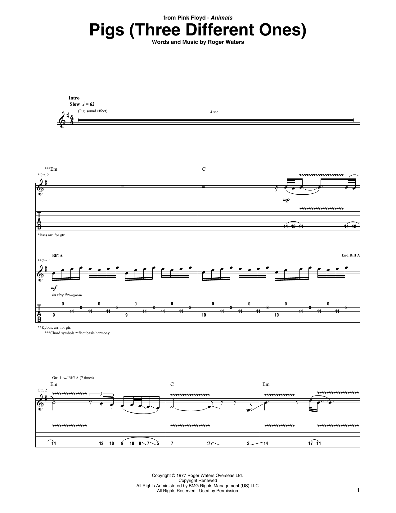image regarding Printable Guitar Tab named Crimson Floyd Pigs (A few Substitute Types) Sheet New music Notes, Chords  Obtain Printable Guitar Tab - SKU: 411662