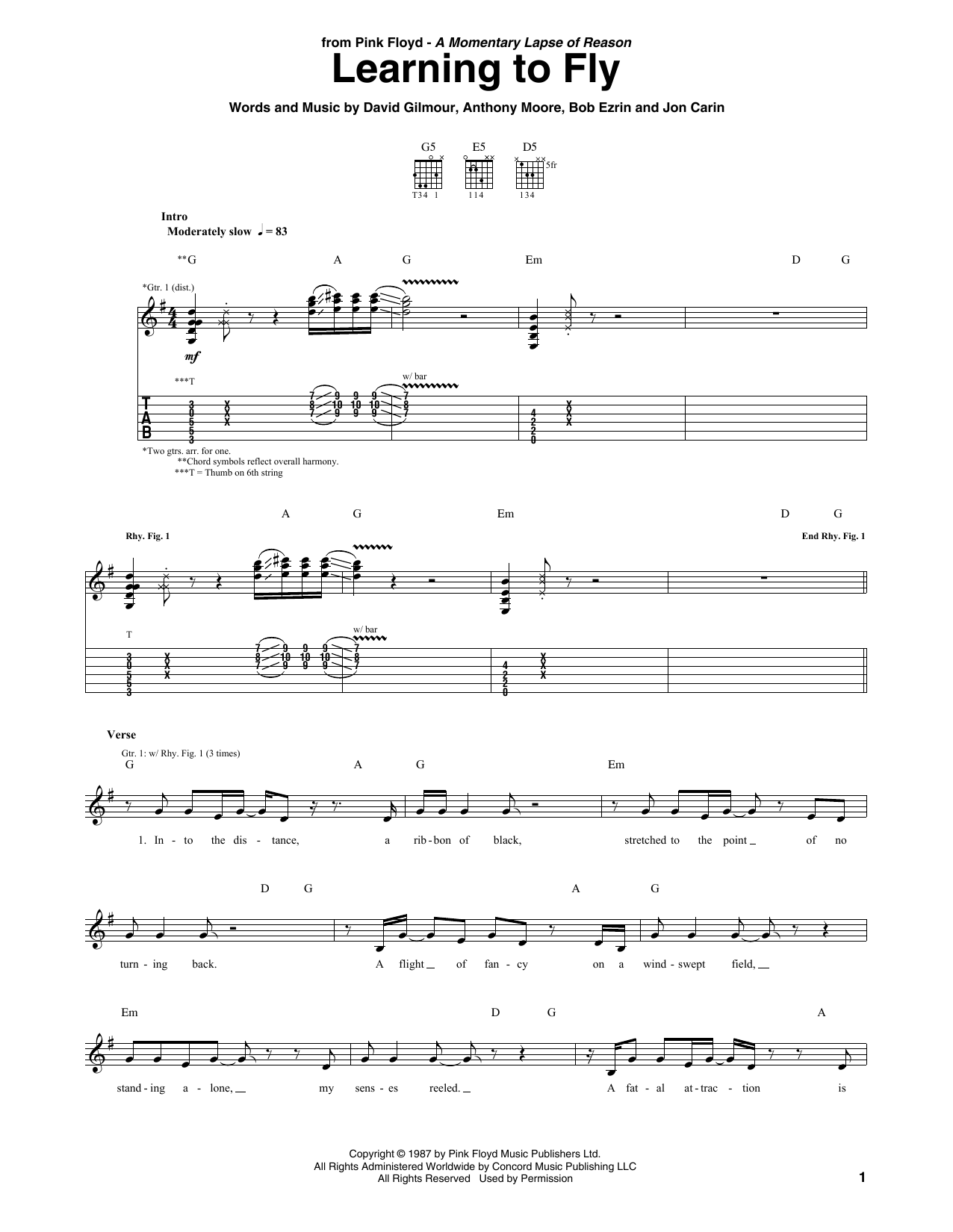 Pink Floyd 'Learning To Fly' Sheet Music Notes, Chords | Download Printable  Guitar Tab - SKU: 411664