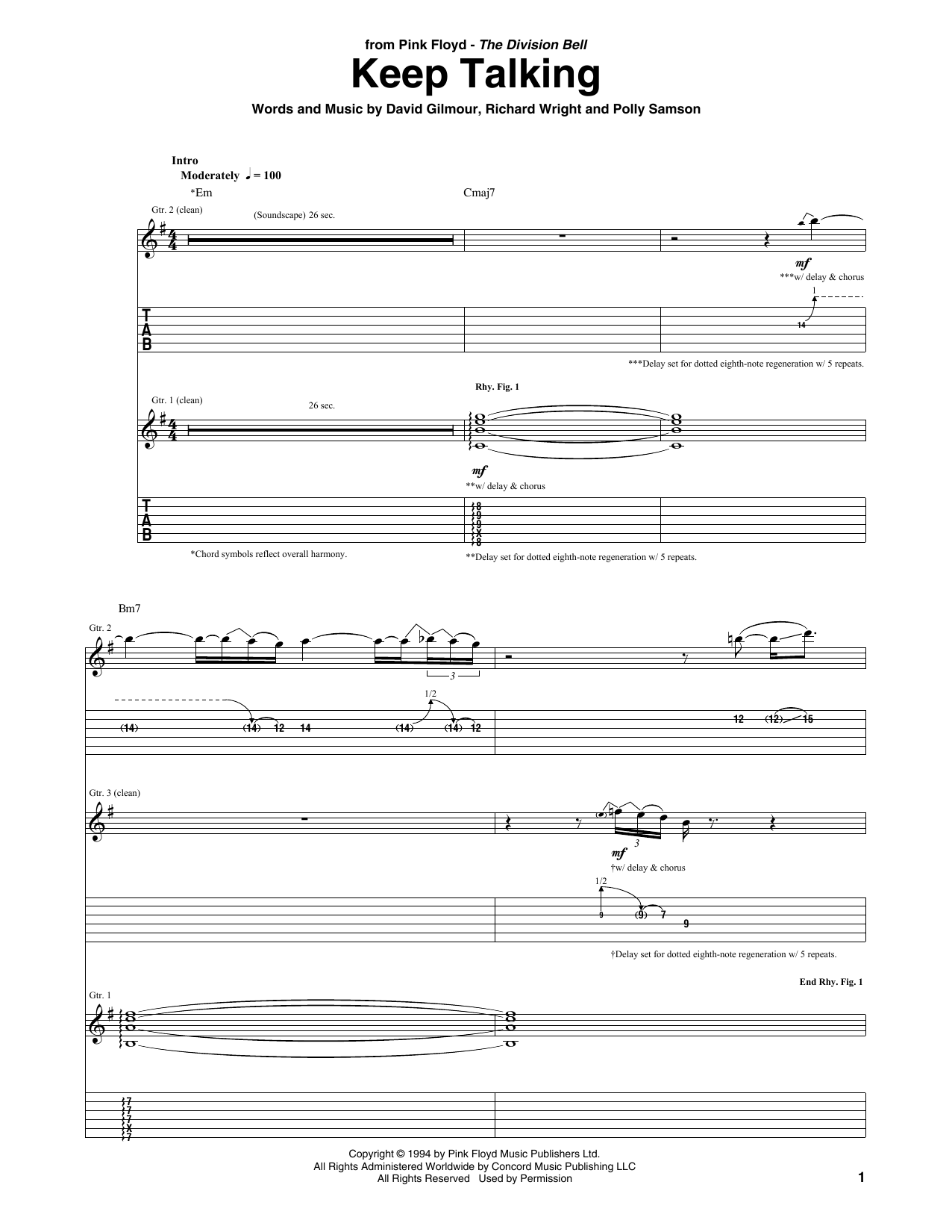 image about Printable Guitar Tab named Red Floyd Continue to keep Chatting Sheet Audio Notes, Chords Obtain Printable Guitar Tab - SKU: 411666
