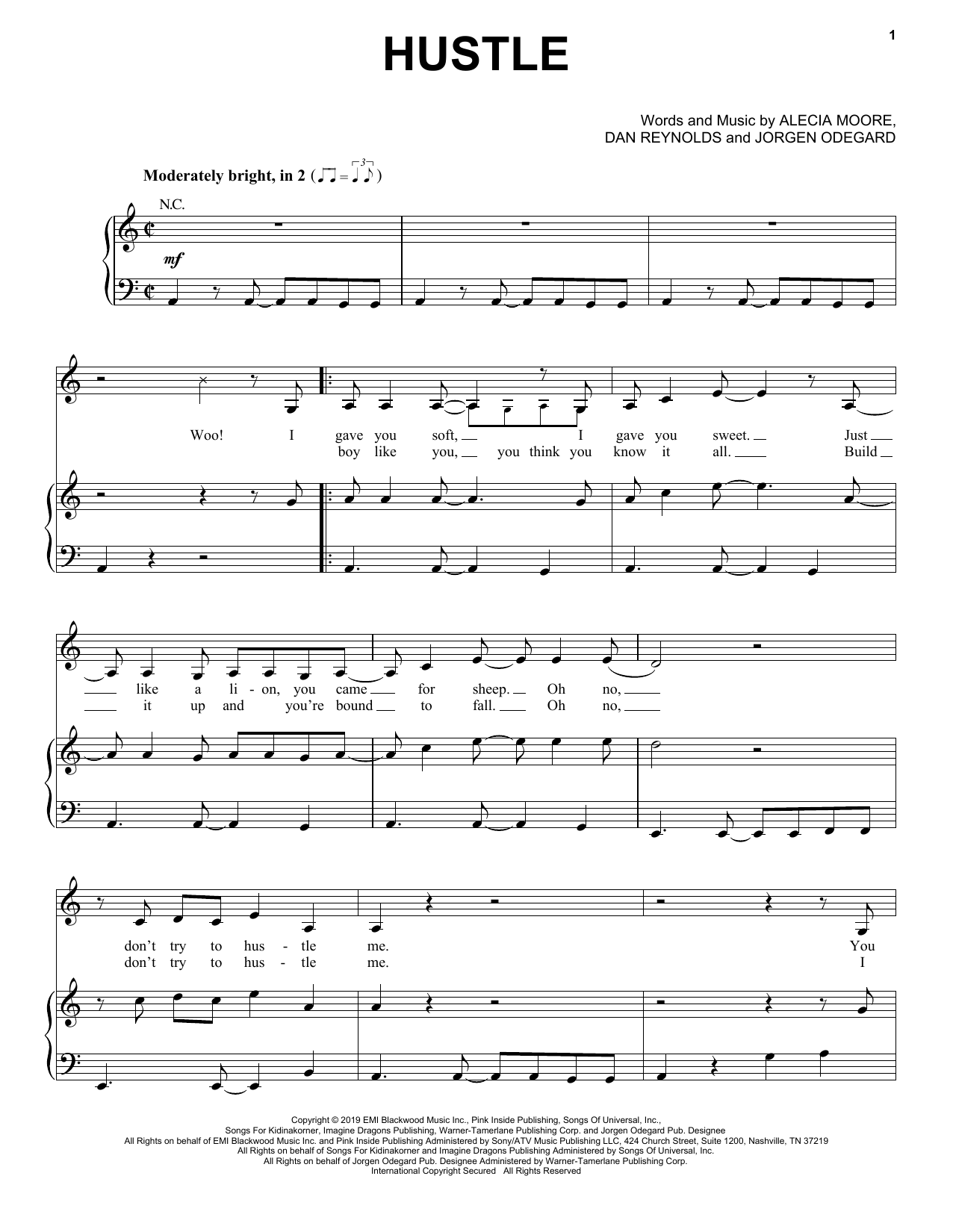 Pink 'Hustle' Sheet Music Notes, Chords | Download Printable Piano, Vocal &  Guitar (Right-Hand Melody) - SKU: 411704