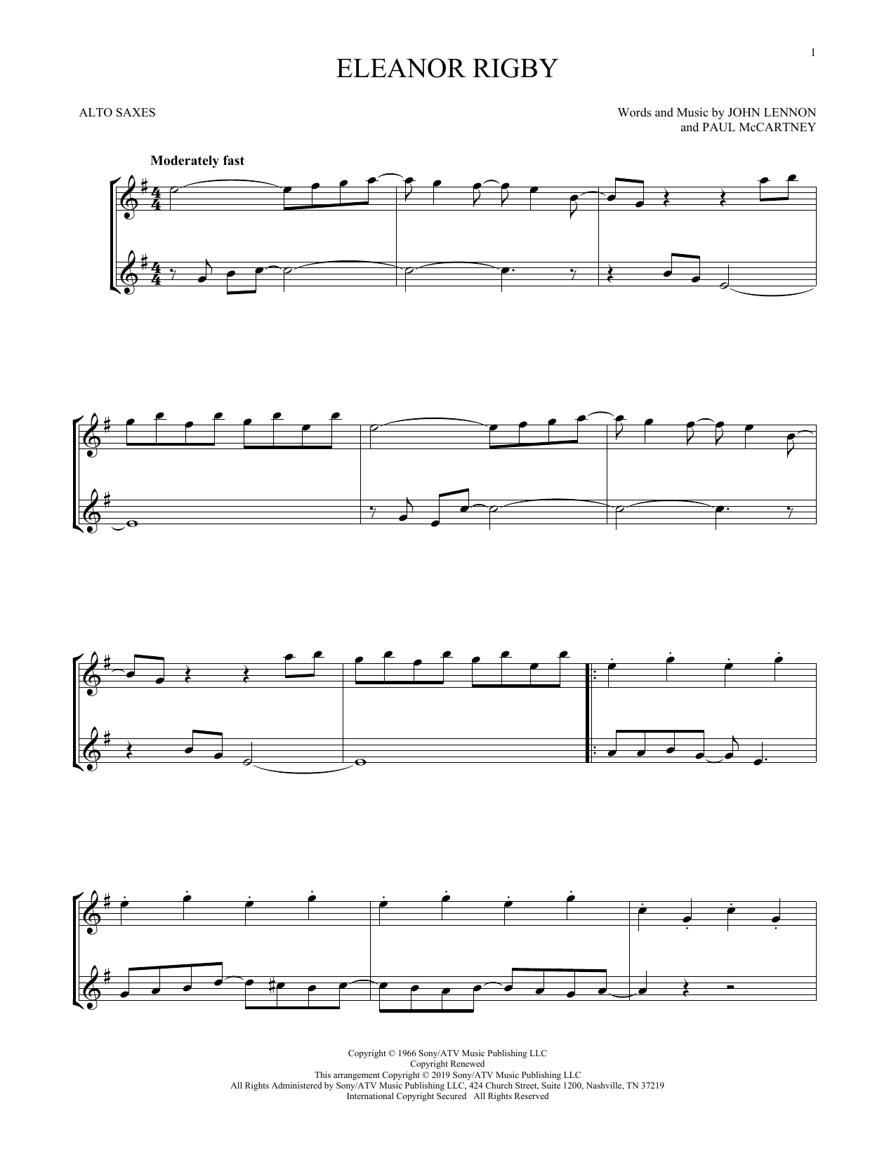 photograph relating to Free Printable Alto Saxophone Sheet Music identify The Beatles Eleanor Rigby Sheet Tunes Notes, Chords Obtain Printable Alto Sax Duet - SKU: 412493