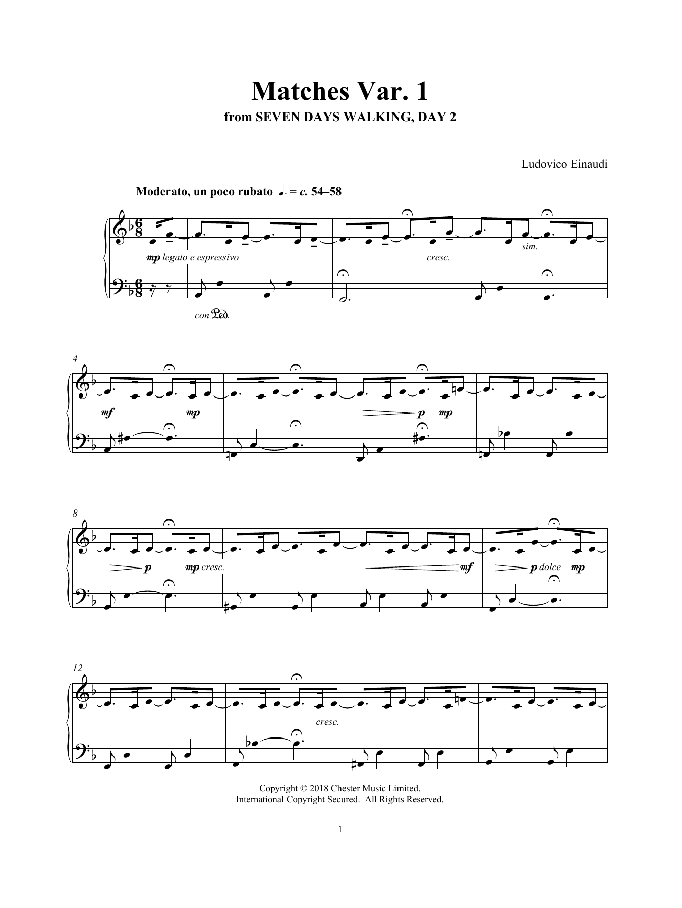 Ludovico Einaudi 'Matches Var  1 (from Seven Days Walking: Day 2)' Sheet  Music Notes, Chords | Download Printable Piano Solo - SKU: 412763