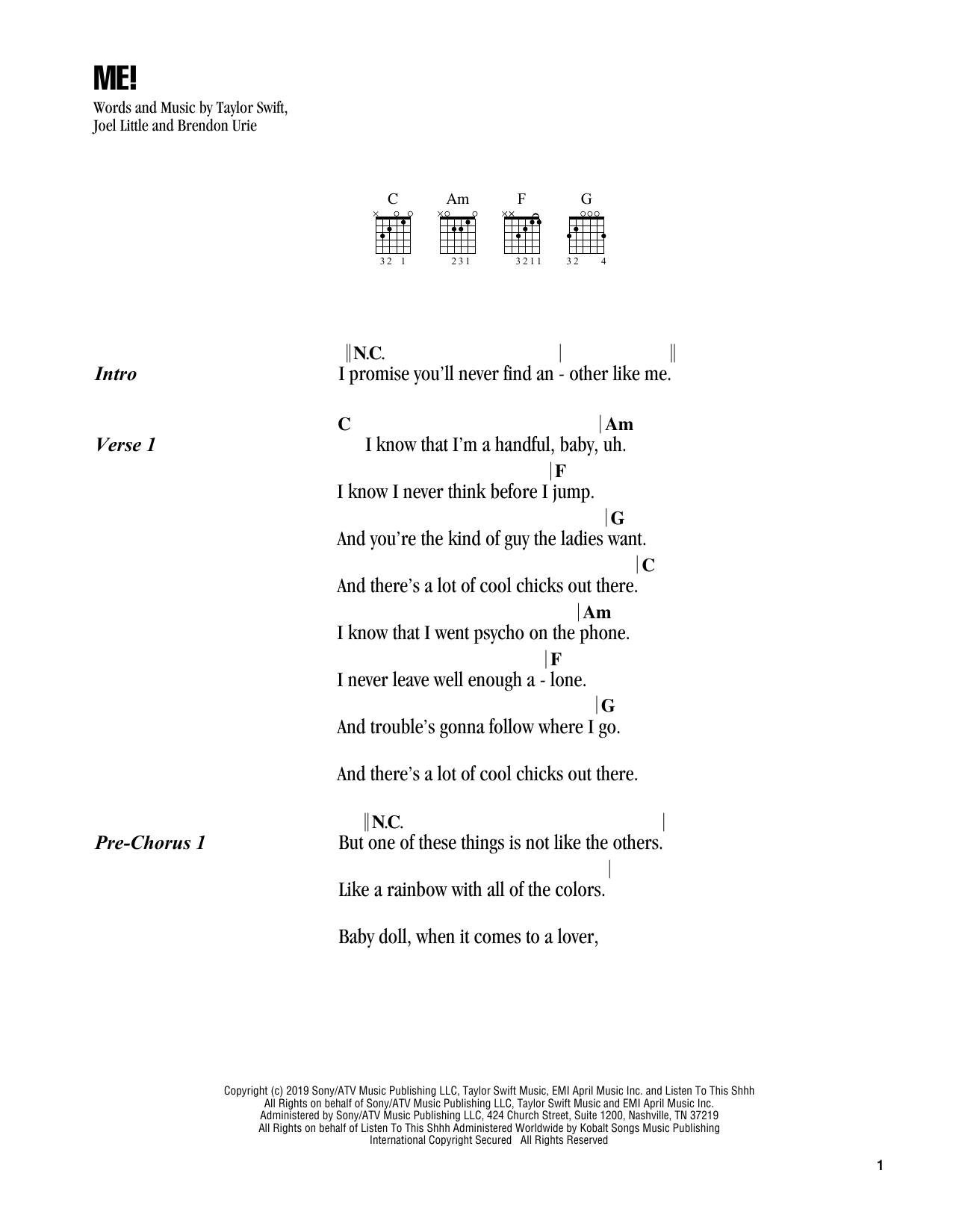 Taylor Swift 'ME!' Sheet Music Notes, Chords | Download Printable Guitar  Chords/Lyrics - SKU: 413417