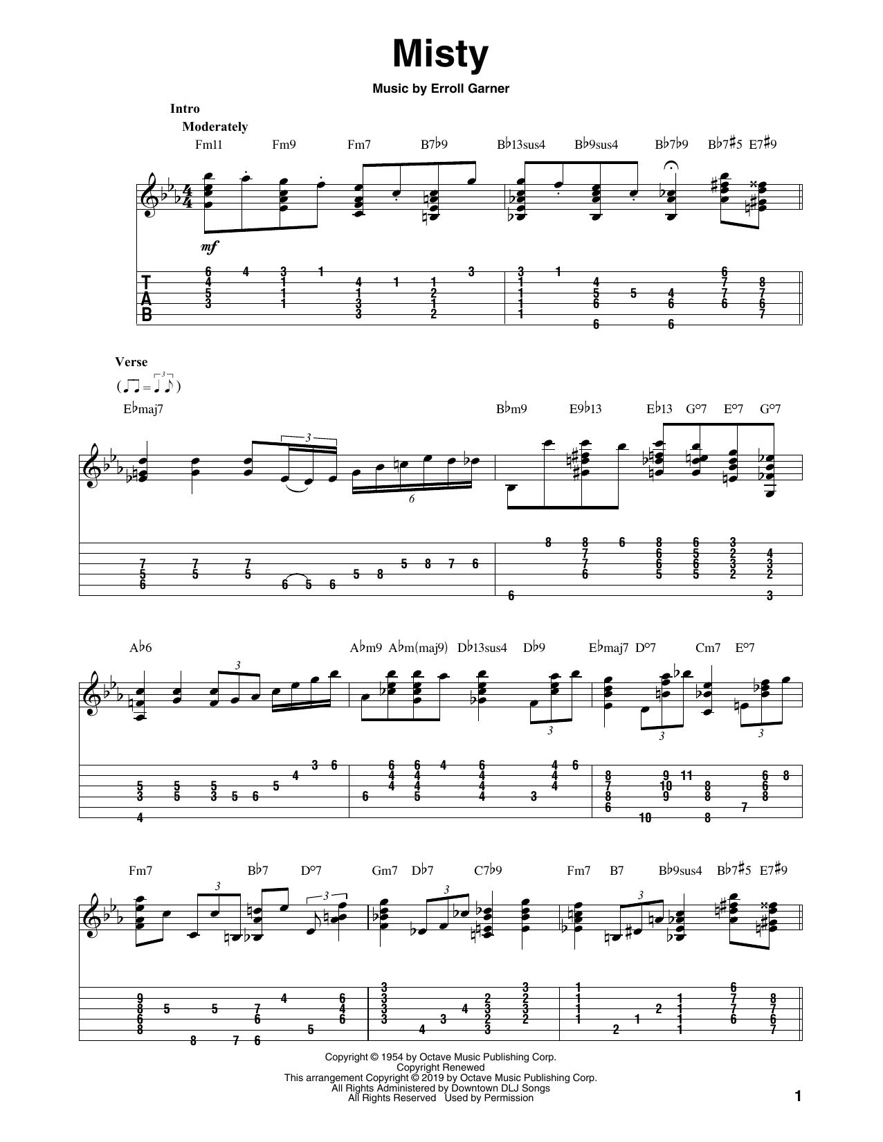 Johnny Mathis 'Misty' Sheet Music Notes, Chords | Download Printable Solo  Guitar Tab - SKU: 414564