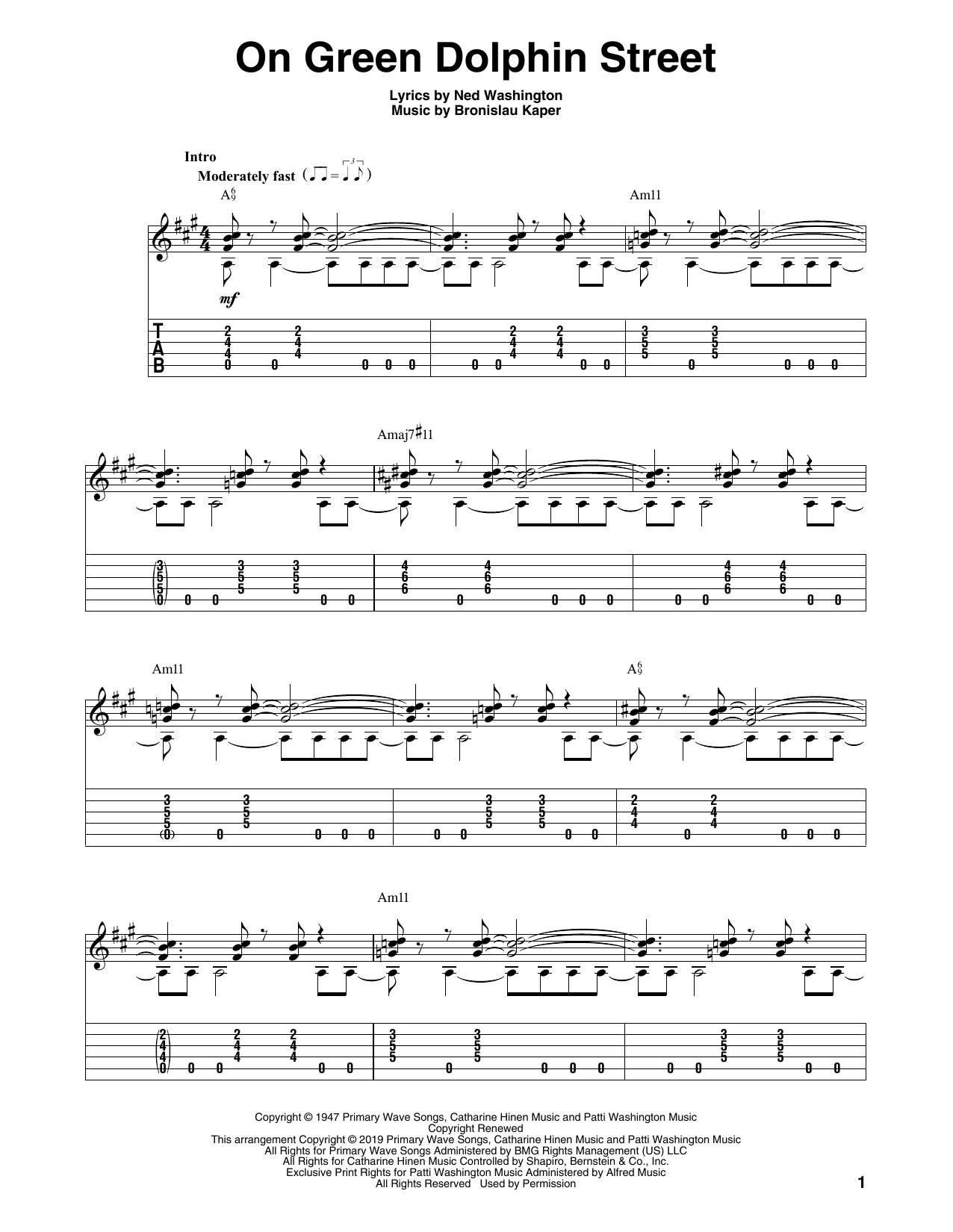 Ned Washington 'On Green Dolphin Street' Sheet Music Notes, Chords |  Download Printable Solo Guitar Tab - SKU: 414573