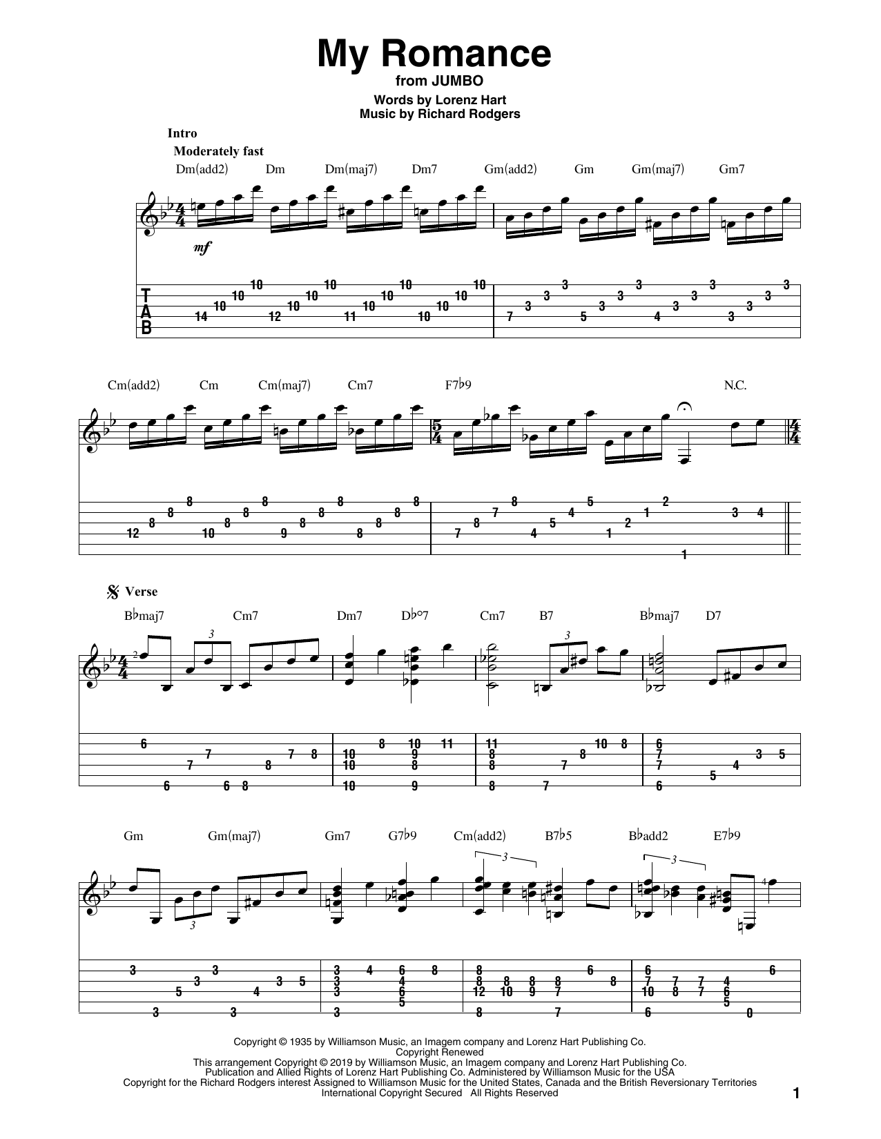 Rodgers & Hart 'My Romance' Sheet Music Notes, Chords | Download Printable  Solo Guitar Tab - SKU: 414577