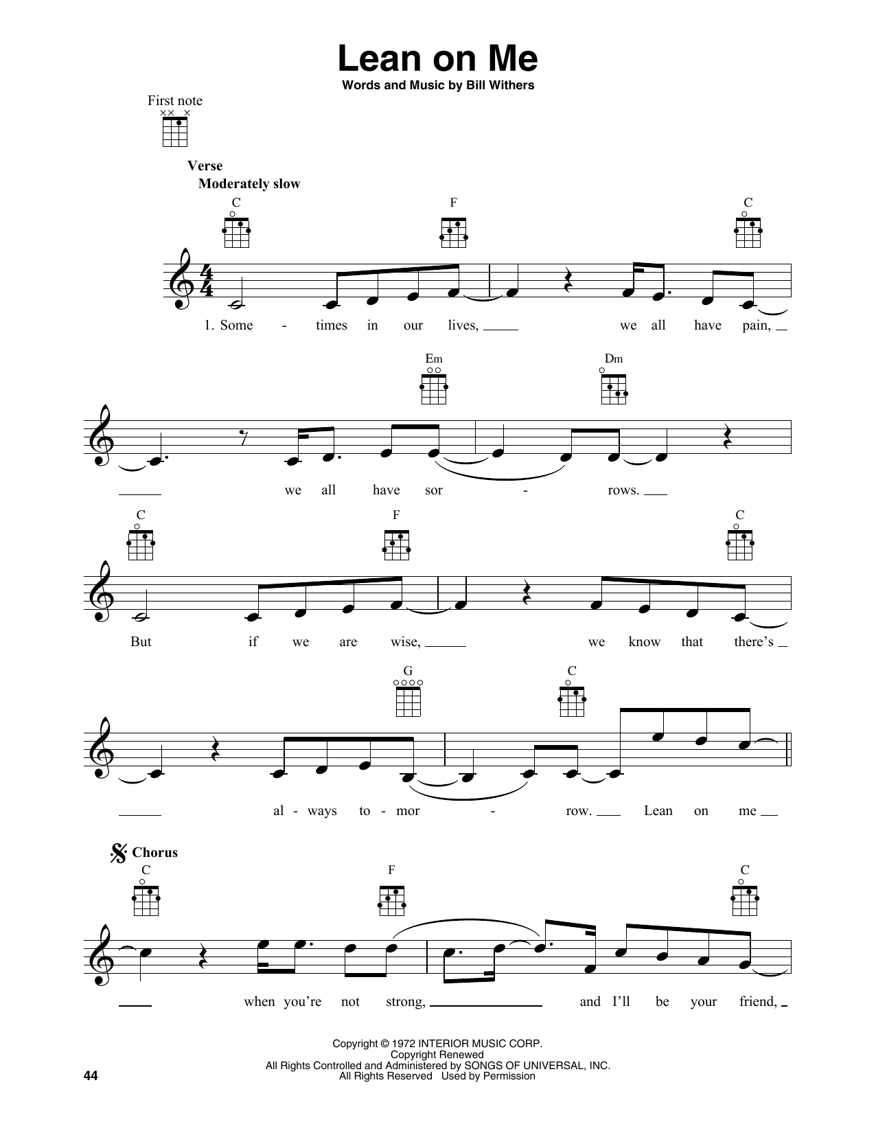 Bill Withers 'Lean On Me' Sheet Music Notes, Chords | Download Printable  Banjo Tab - SKU: 414949