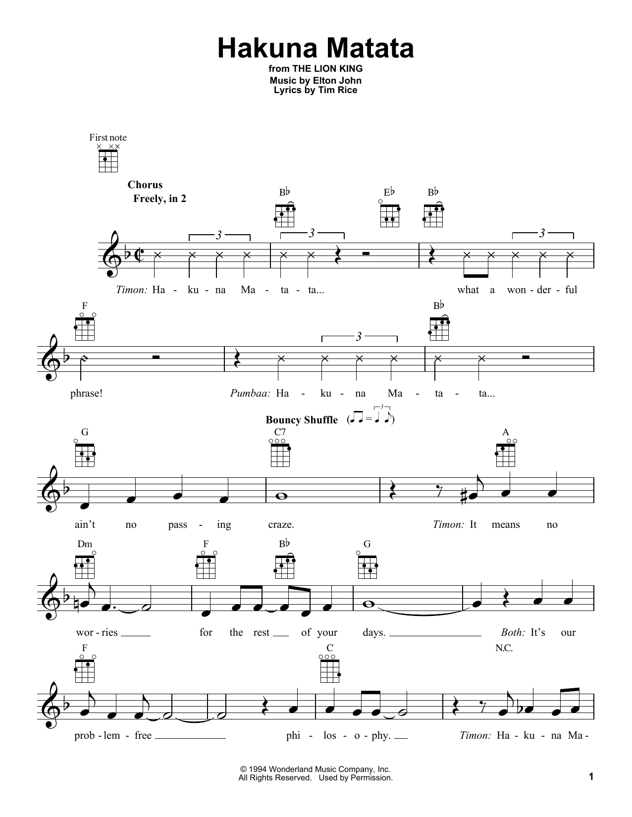 graphic about Disney Piano Sheet Music Free Printable known as Elton John Tim Rice Hakuna Matata (towards The Lion King) Sheet Songs Notes, Chords Down load Printable Ukulele - SKU: 415058