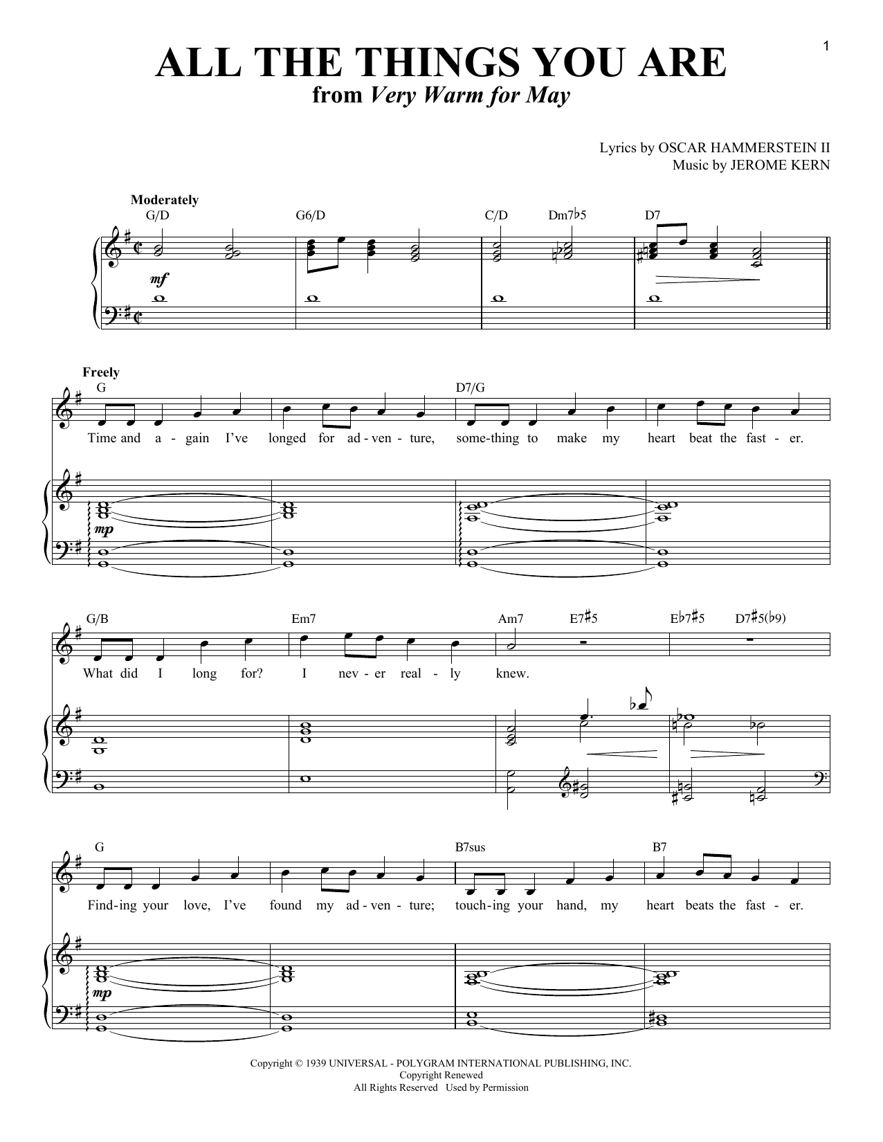 Jerome Kern 'All The Things You Are' Sheet Music Notes, Chords | Download  Printable Piano & Vocal - SKU: 415195