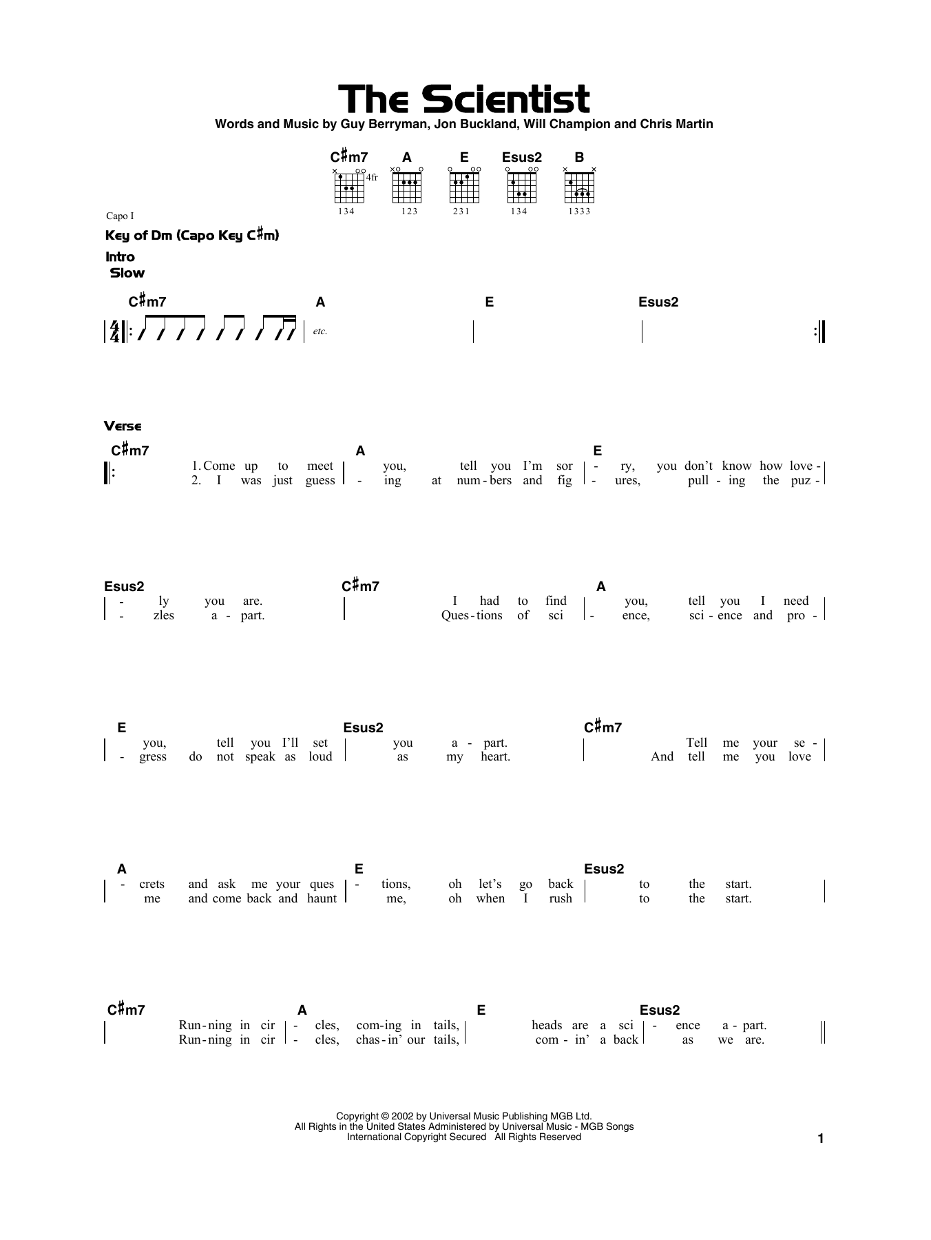 Coldplay 'The Scientist' Sheet Music Notes, Chords | Download Printable  Really Easy Guitar - SKU: 415291