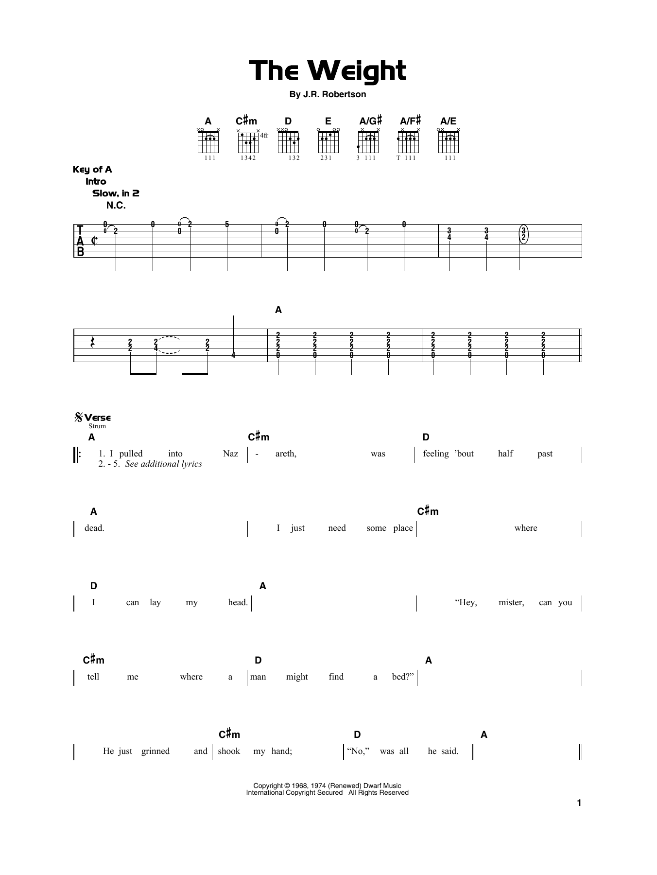 The Band 'The Weight' Sheet Music Notes, Chords | Download Printable Really  Easy Guitar - SKU: 415303
