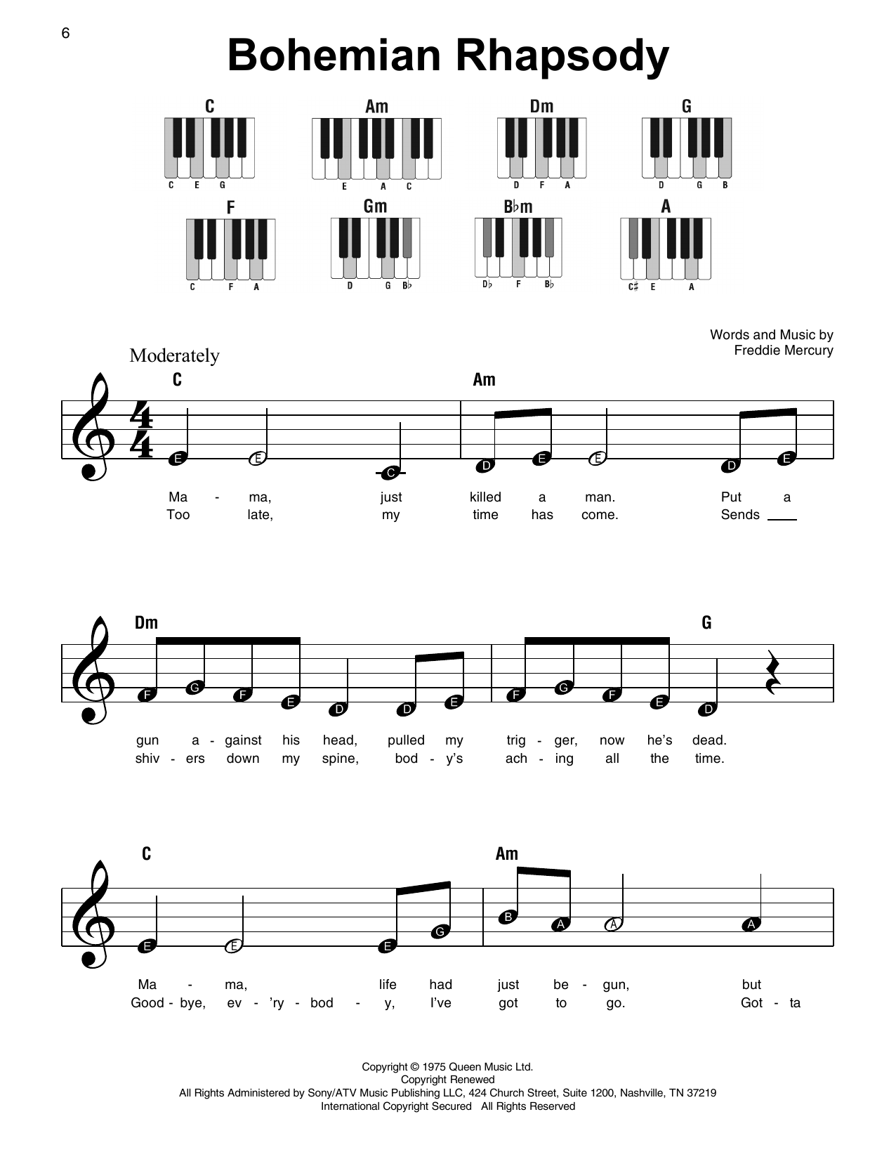 Queen 'Bohemian Rhapsody' Sheet Music Notes, Chords | Download Printable  Super Easy Piano - SKU: 415306