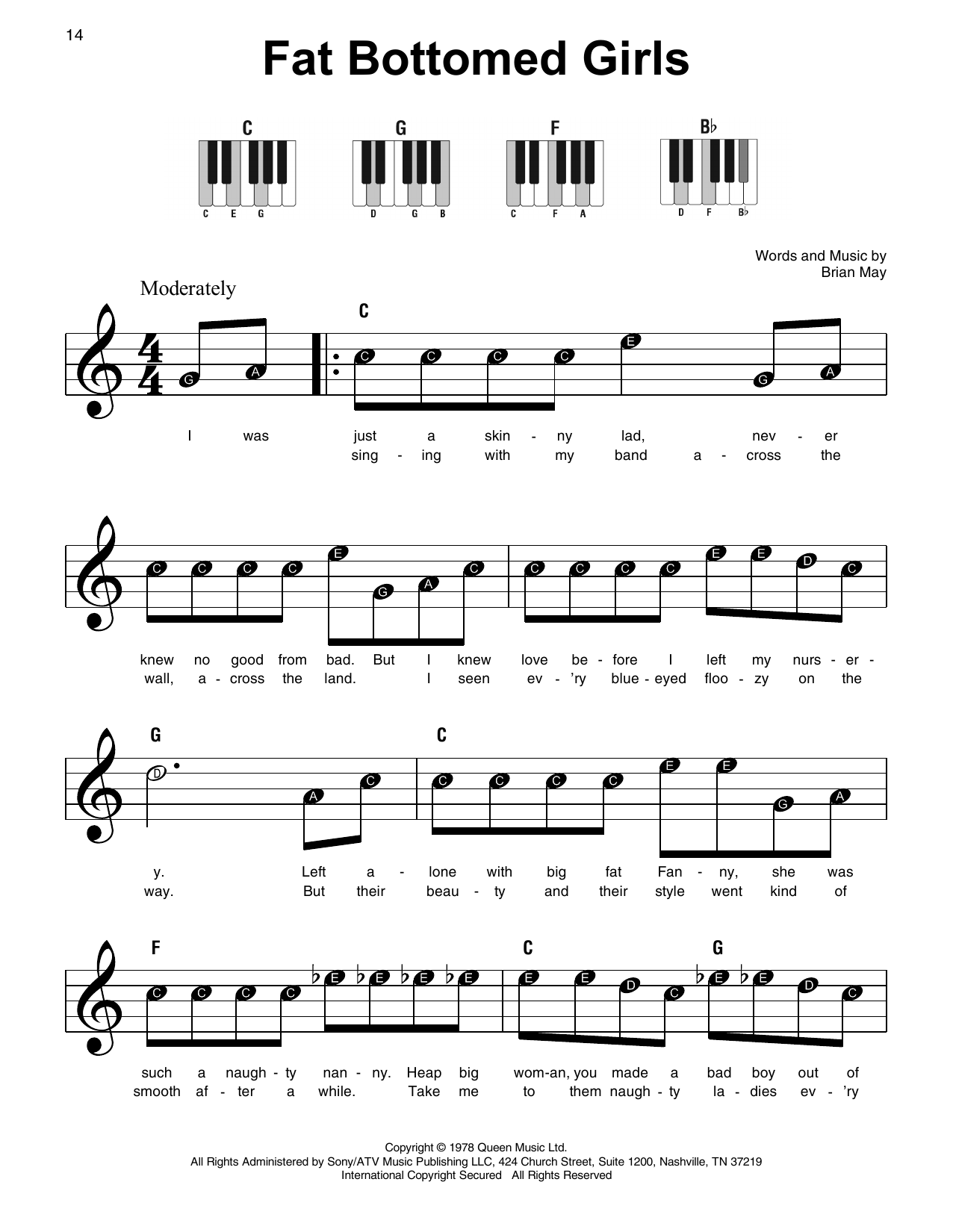 picture relating to All of Me Easy Piano Sheet Music Free Printable identify Queen Pounds Bottomed Females Sheet Audio Notes, Chords Down load Printable Tremendous Straightforward Piano - SKU: 415307
