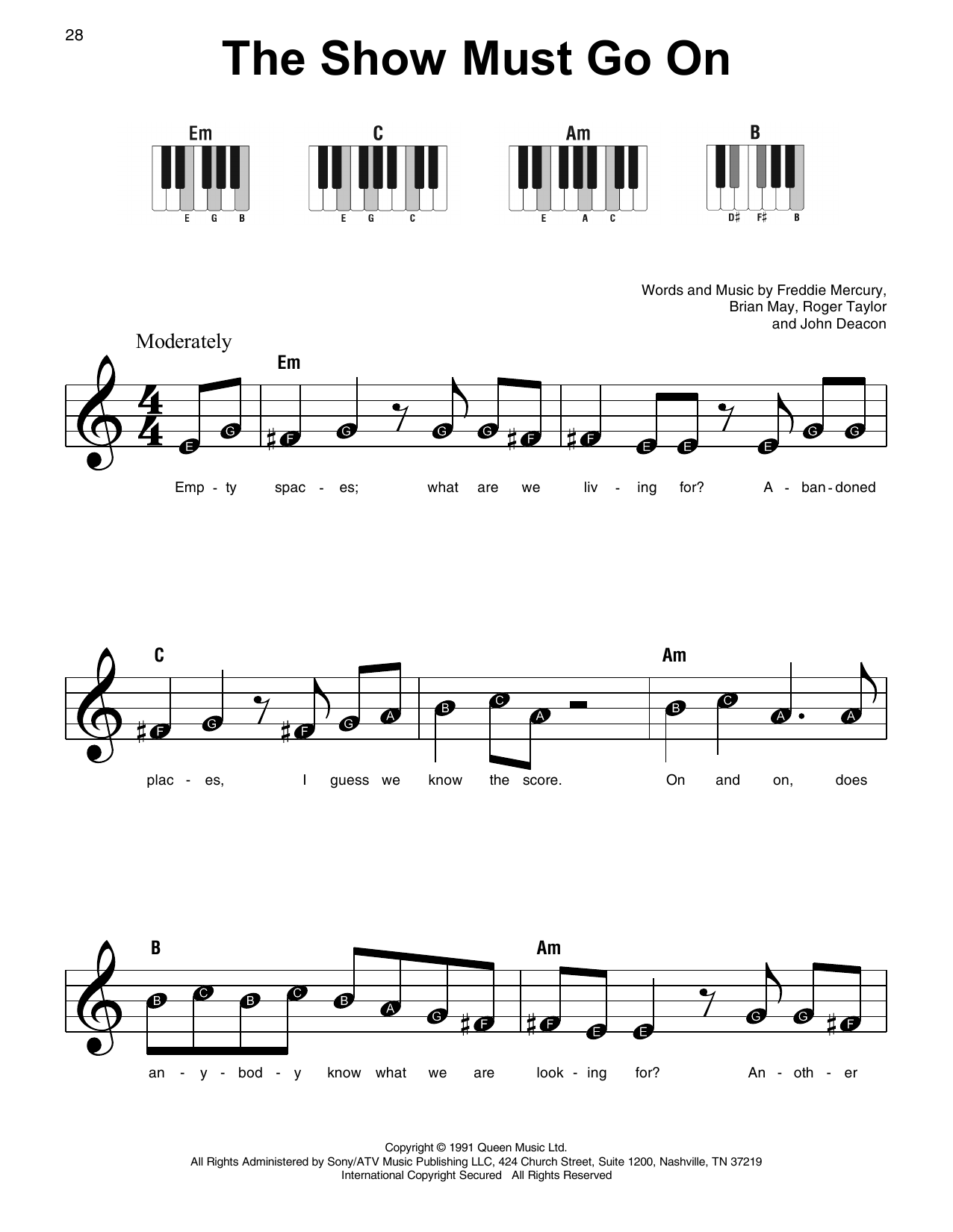 Queen 'The Show Must Go On' Sheet Music Notes, Chords | Download Printable  Super Easy Piano - SKU: 415309