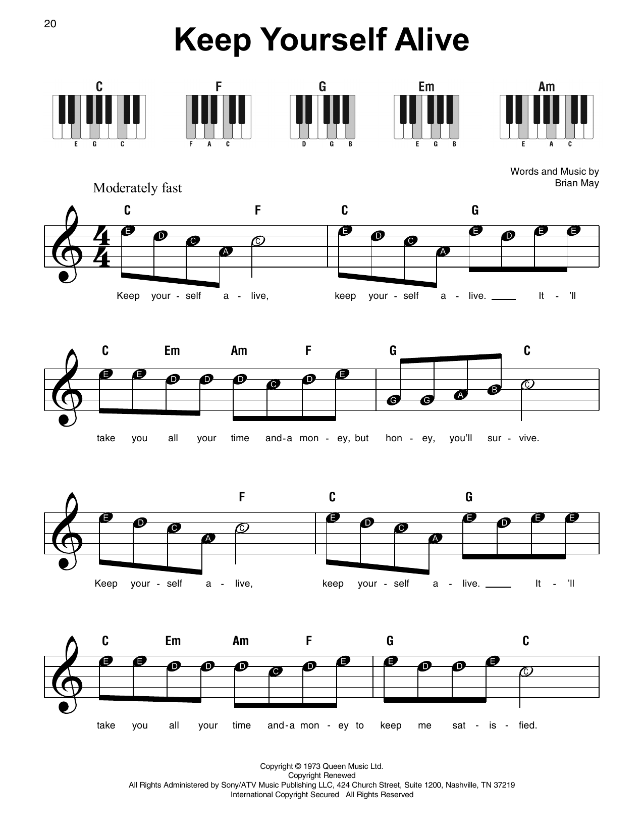 Queen 'Keep Yourself Alive' Sheet Music Notes, Chords | Download Printable  Super Easy Piano - SKU: 415316
