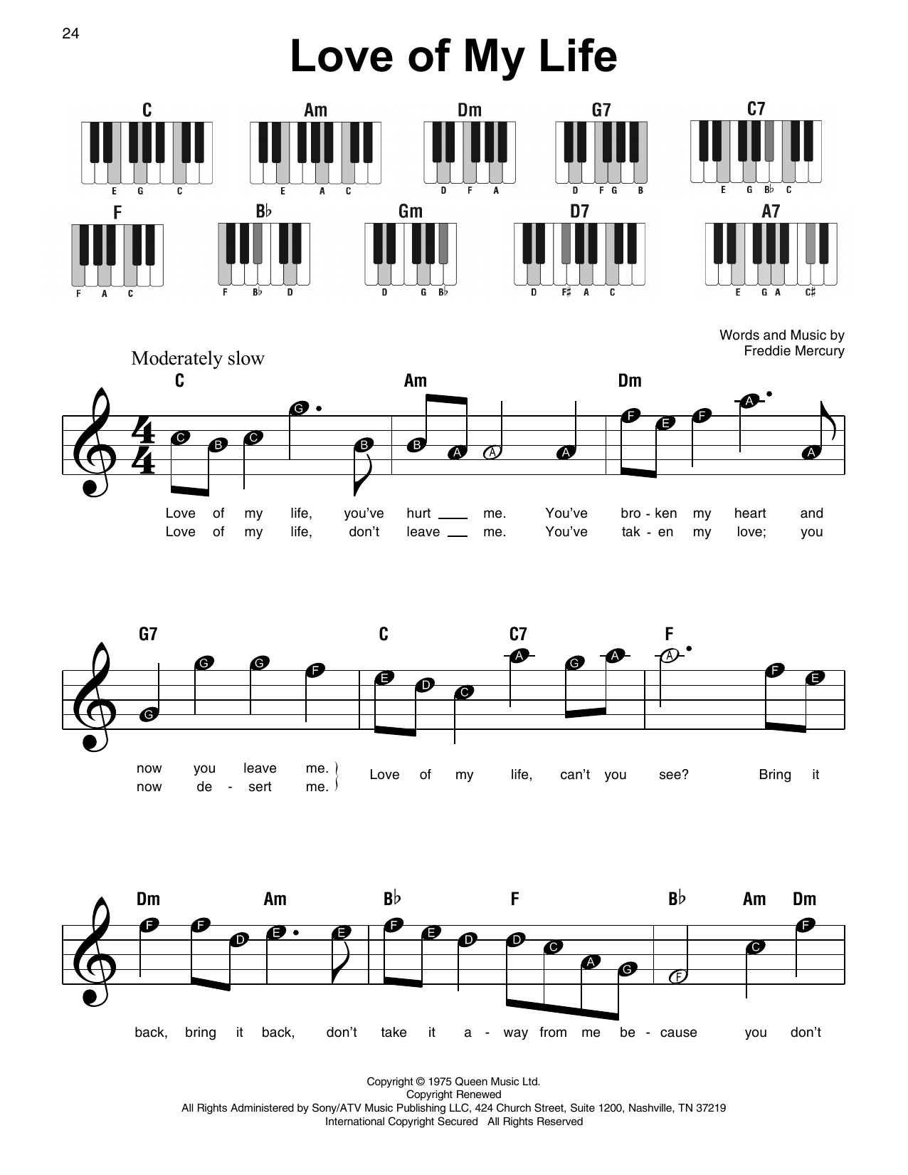 Queen 'Love Of My Life' Sheet Music Notes, Chords | Download Printable  Super Easy Piano - SKU: 415320