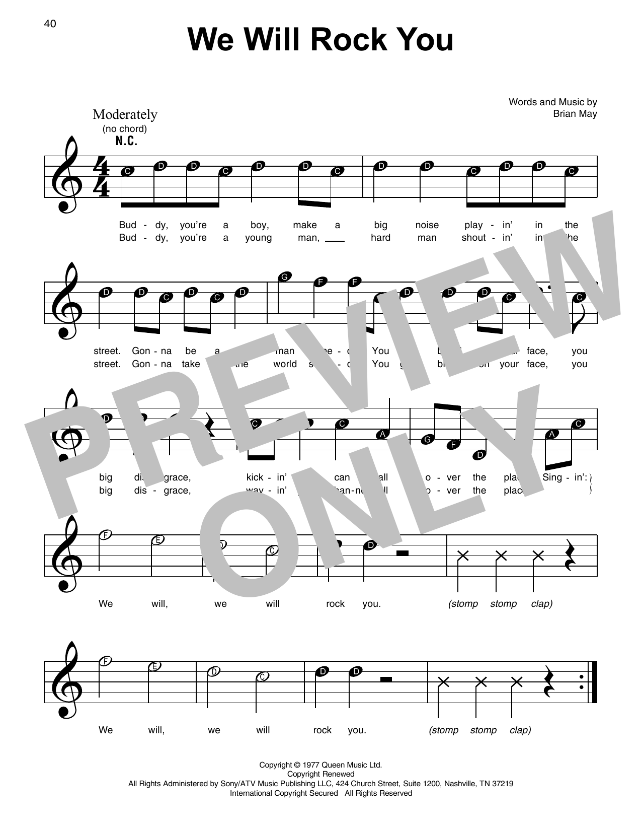 Queen 'We Will Rock You' Sheet Music Notes, Chords | Download Printable  Super Easy Piano - SKU: 415321