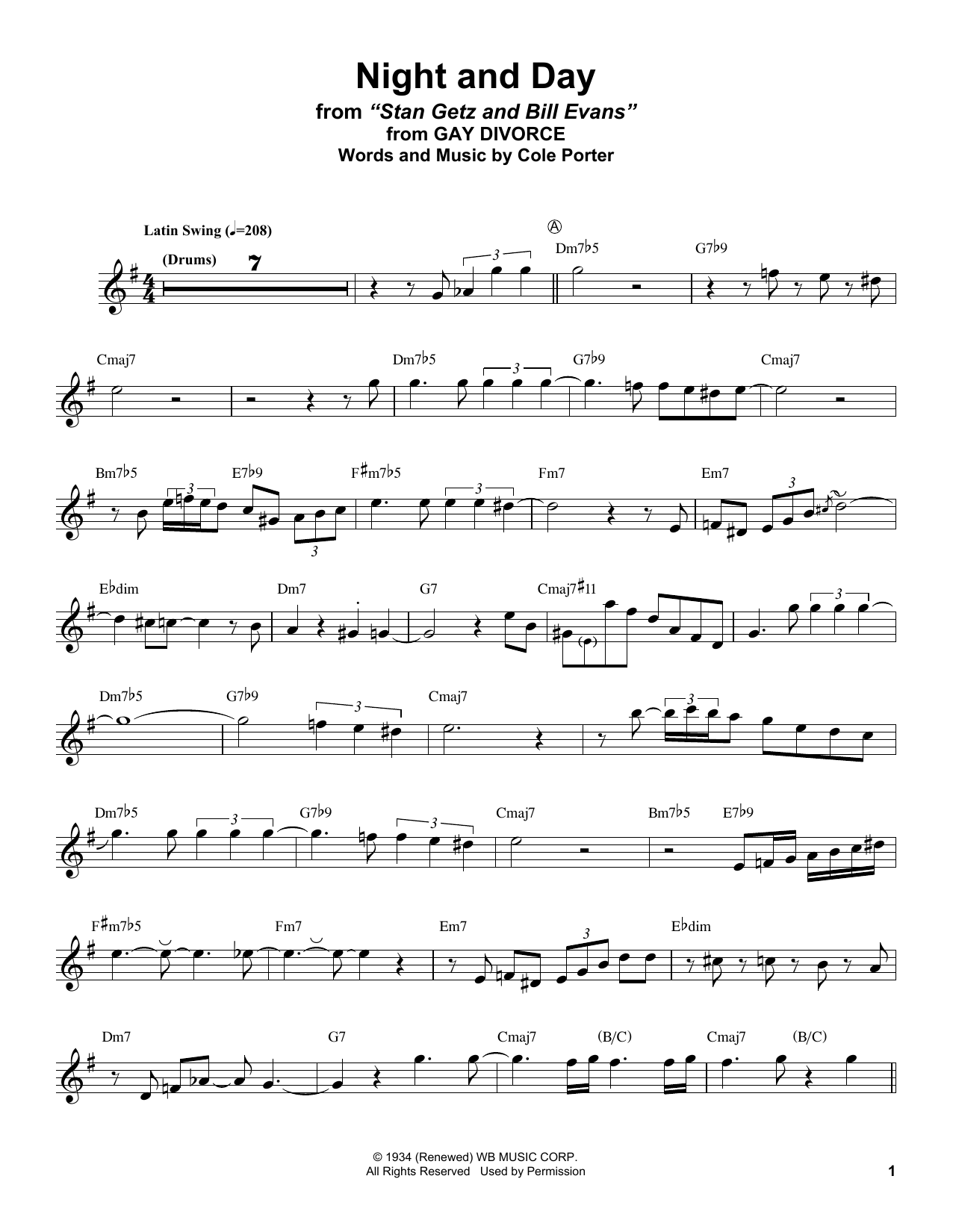 image relating to Free Printable Alto Saxophone Sheet Music known as Stan Getz Night time And Working day Sheet New music Notes, Chords Obtain Printable Alto Sax Transcription - SKU: 415344
