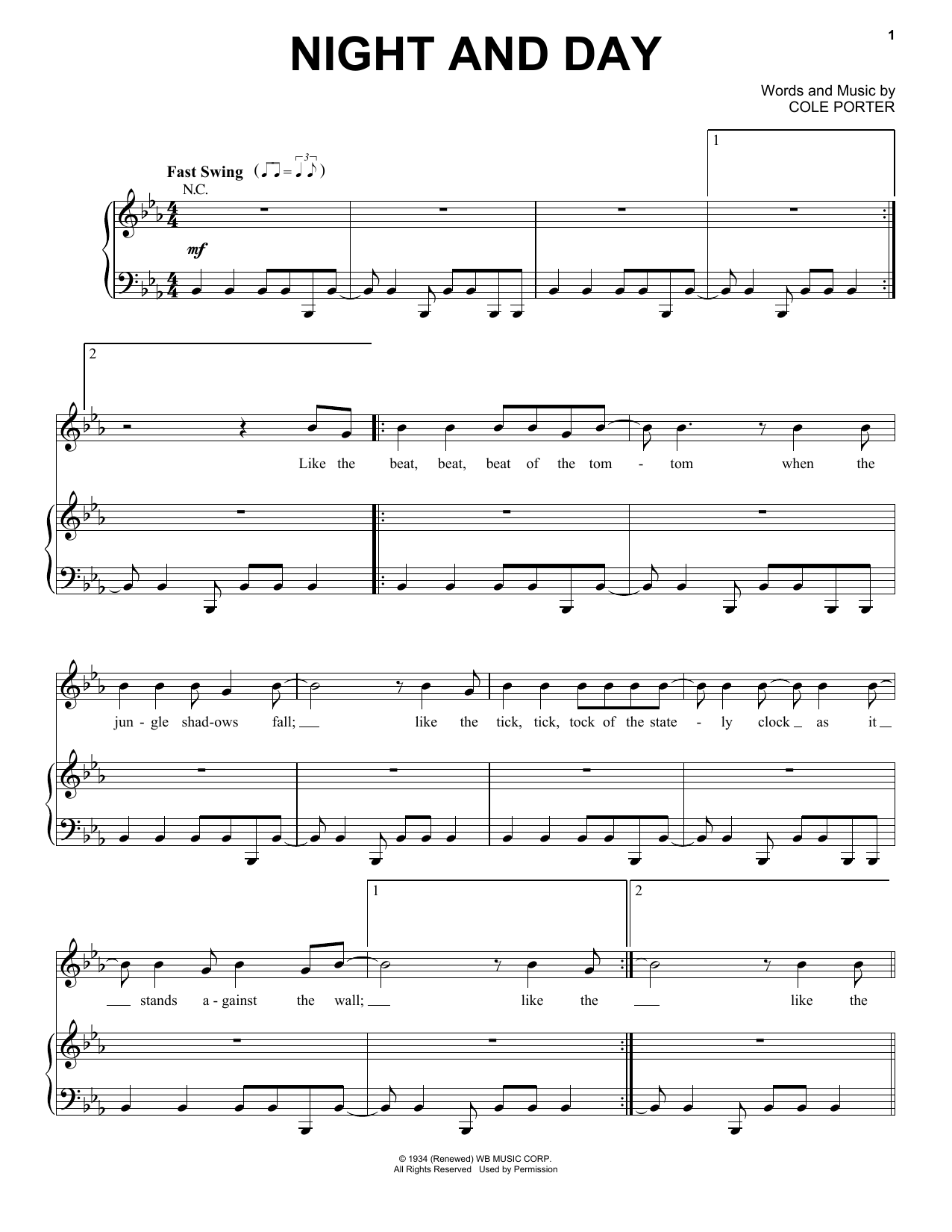 Tony Bennett 'Night And Day' Sheet Music Notes, Chords | Download Printable  Piano & Vocal - SKU: 415364