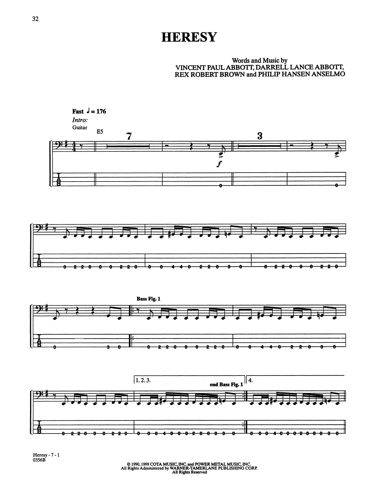 Pantera 'Heresy' Sheet Music Notes, Chords | Download Printable Bass Guitar  Tab - SKU: 415416