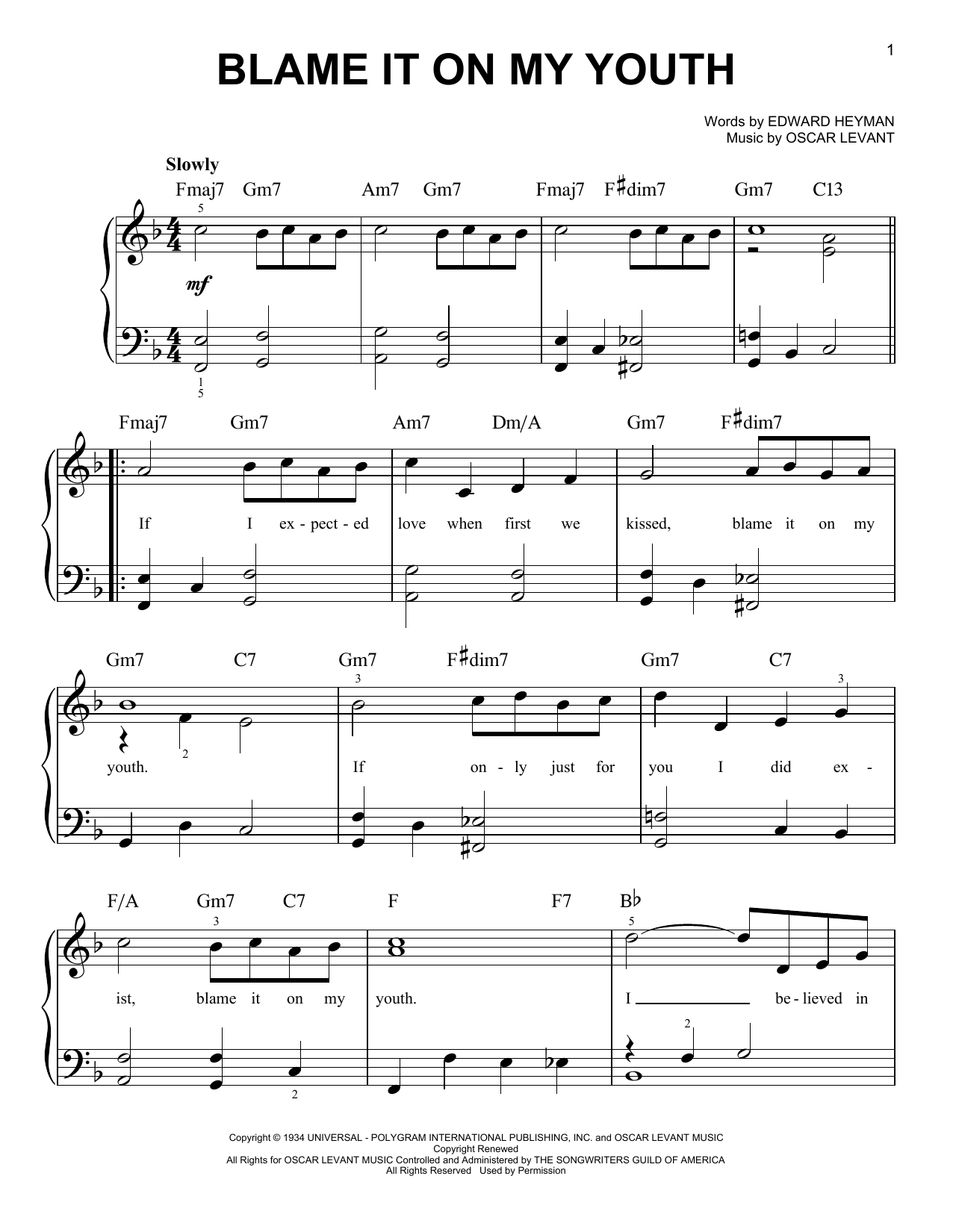 Edward Heyman 'Blame It On My Youth' Sheet Music Notes, Chords | Download  Printable Easy Piano - SKU: 415737