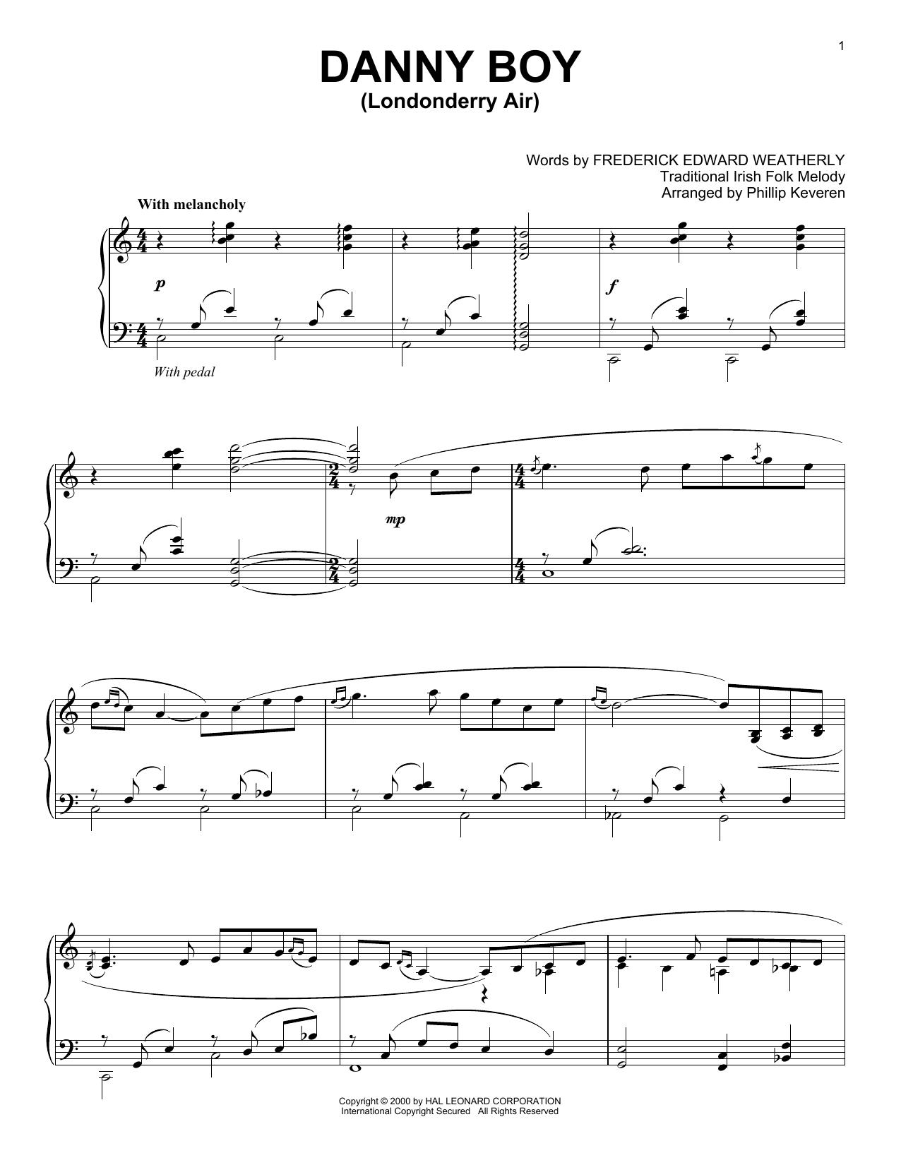 Phillip Keveren 'Danny Boy' Sheet Music Notes, Chords | Download Printable  Piano Solo - SKU: 415754